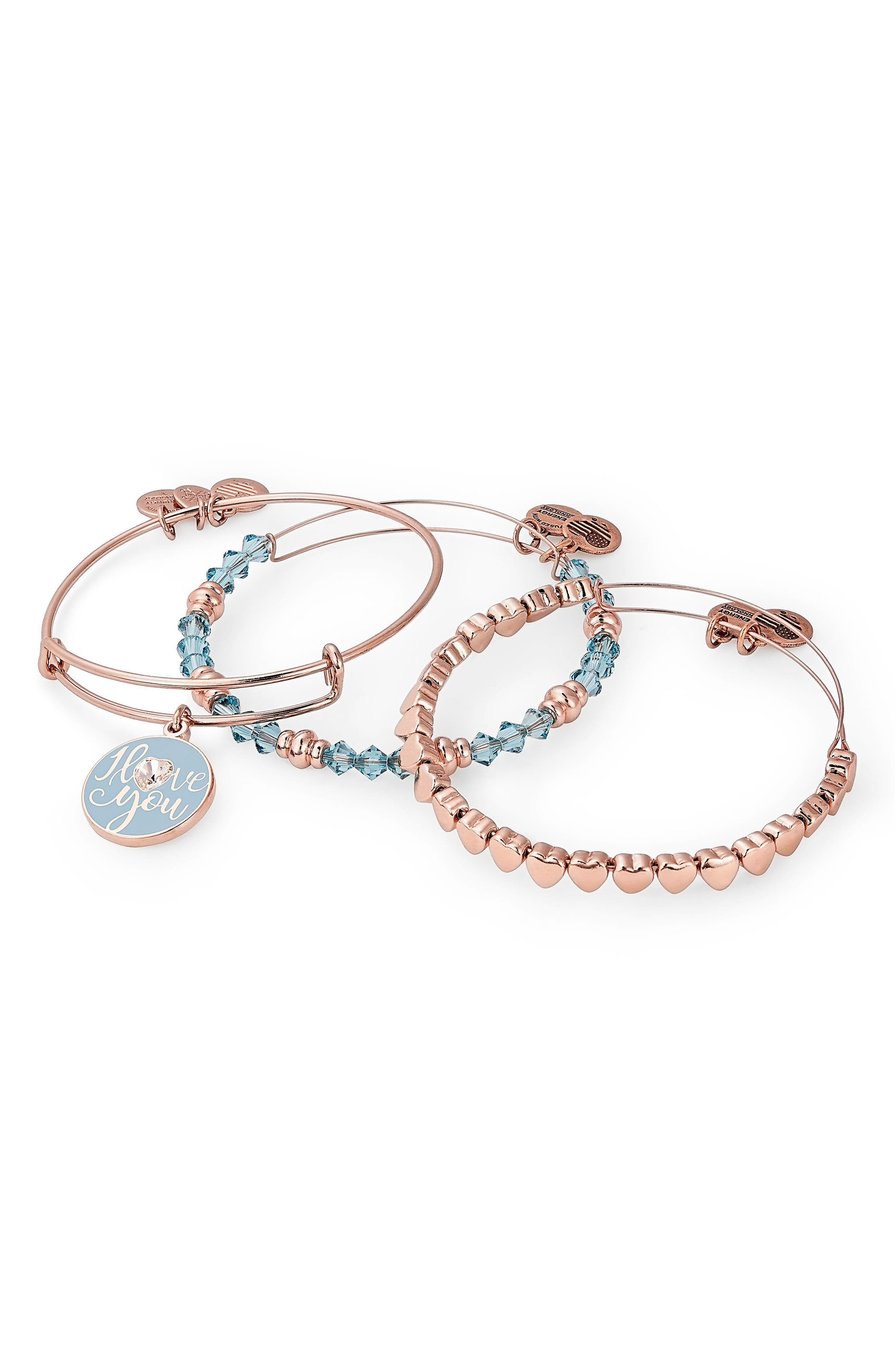 I Love You Set of 3 Adjustable Wire Bangles,                             Main thumbnail 1, color,                             Rose Gold