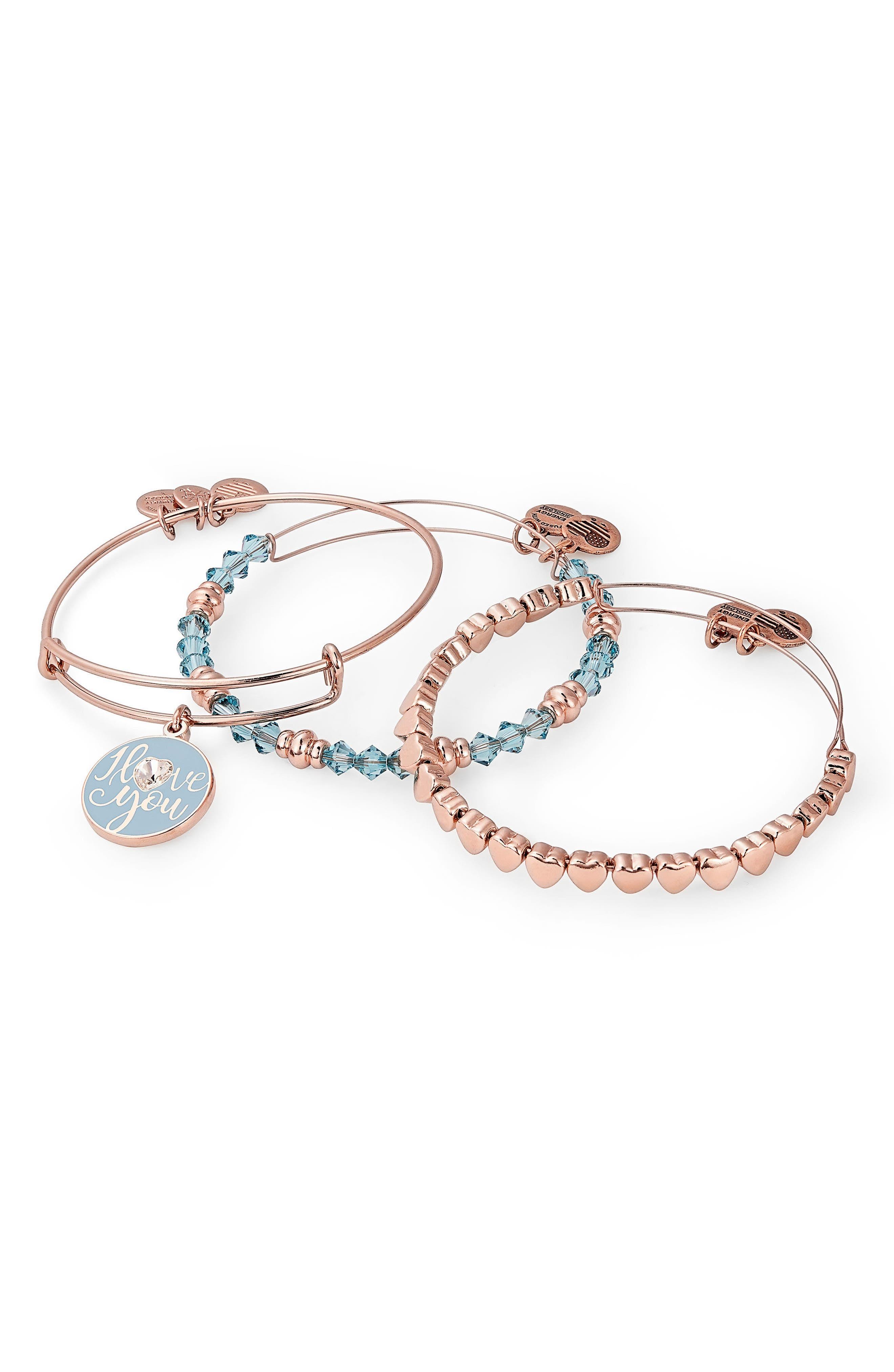 I Love You Set of 3 Adjustable Wire Bangles,                         Main,                         color, Rose Gold