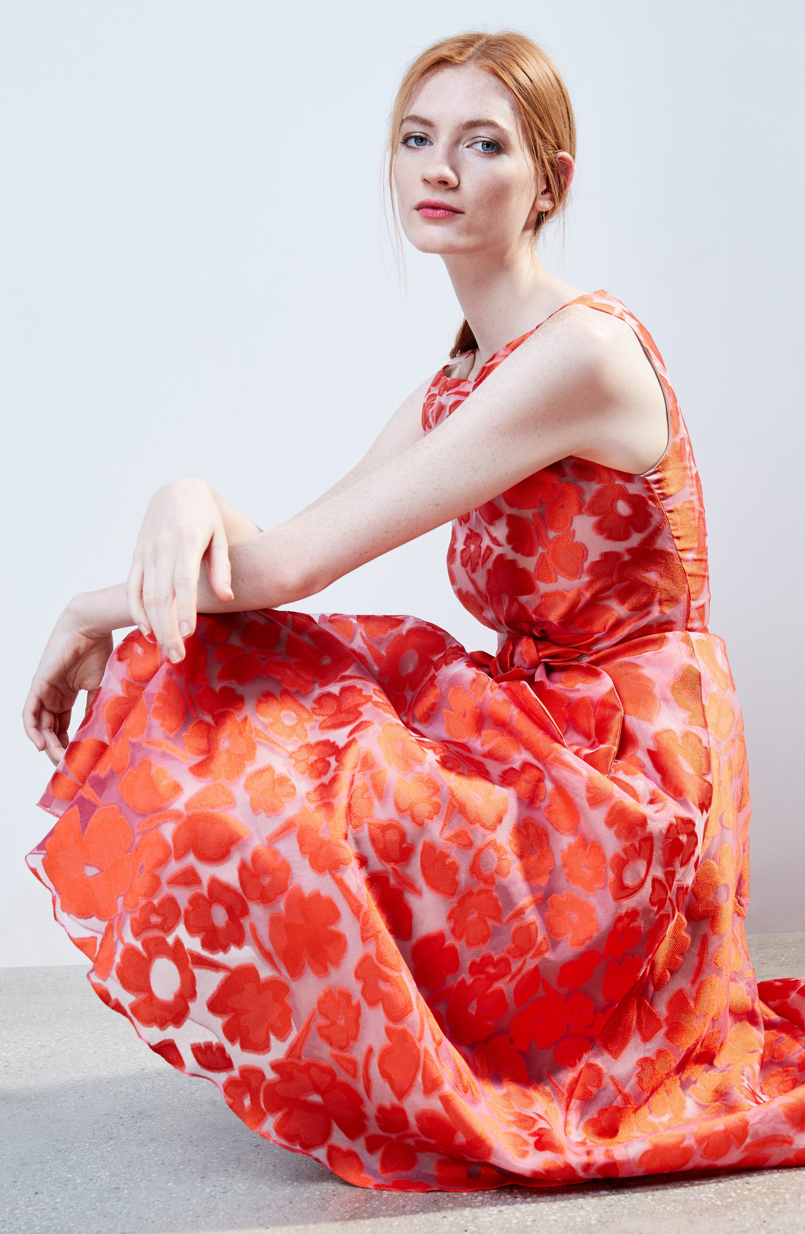 Bow Waist Tea Length Dress,                             Alternate thumbnail 2, color,                             Vermillion