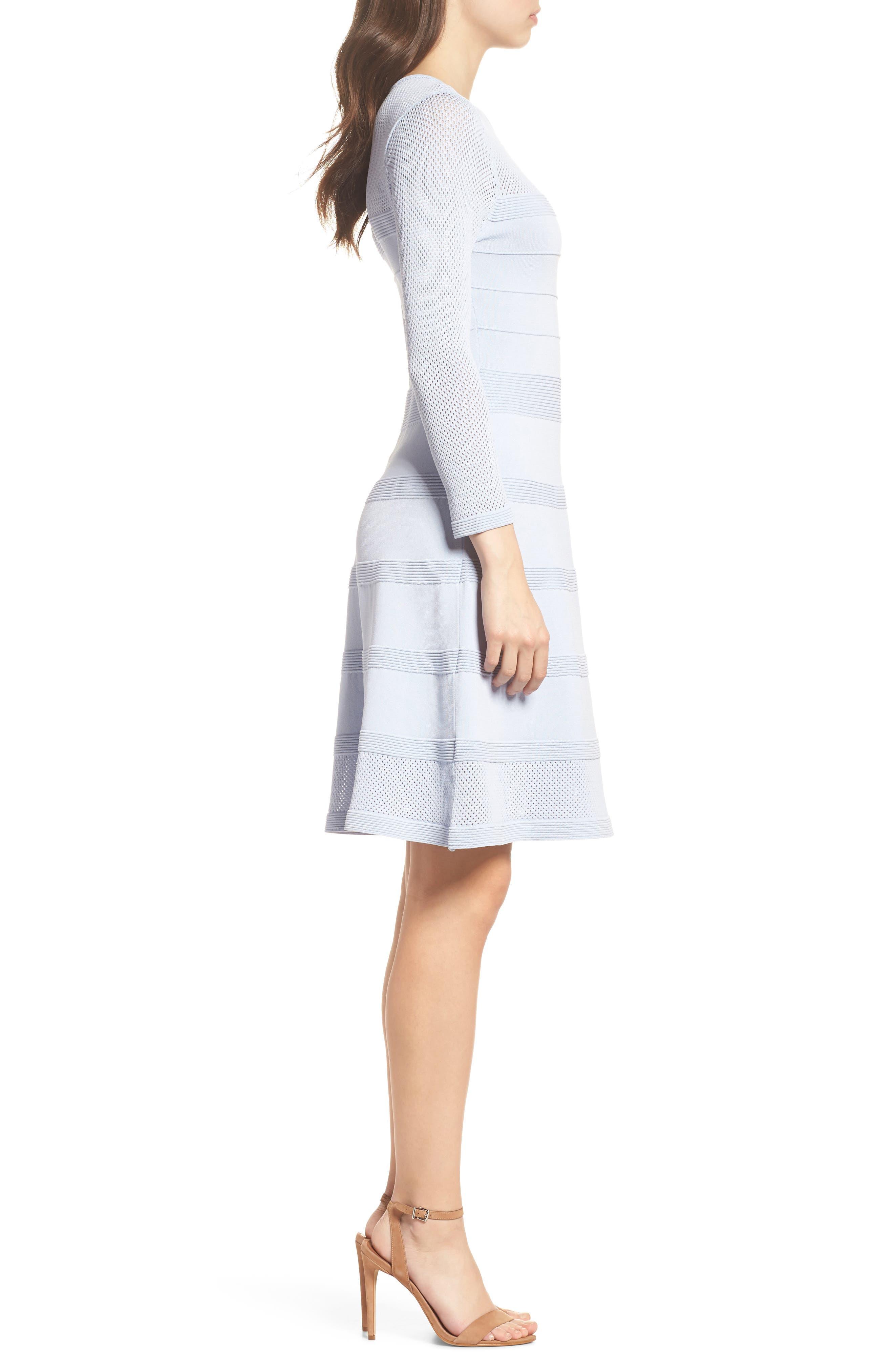 Mix Stitch Pointelle Fit & Flare Dress,                             Alternate thumbnail 3, color,                             Blue