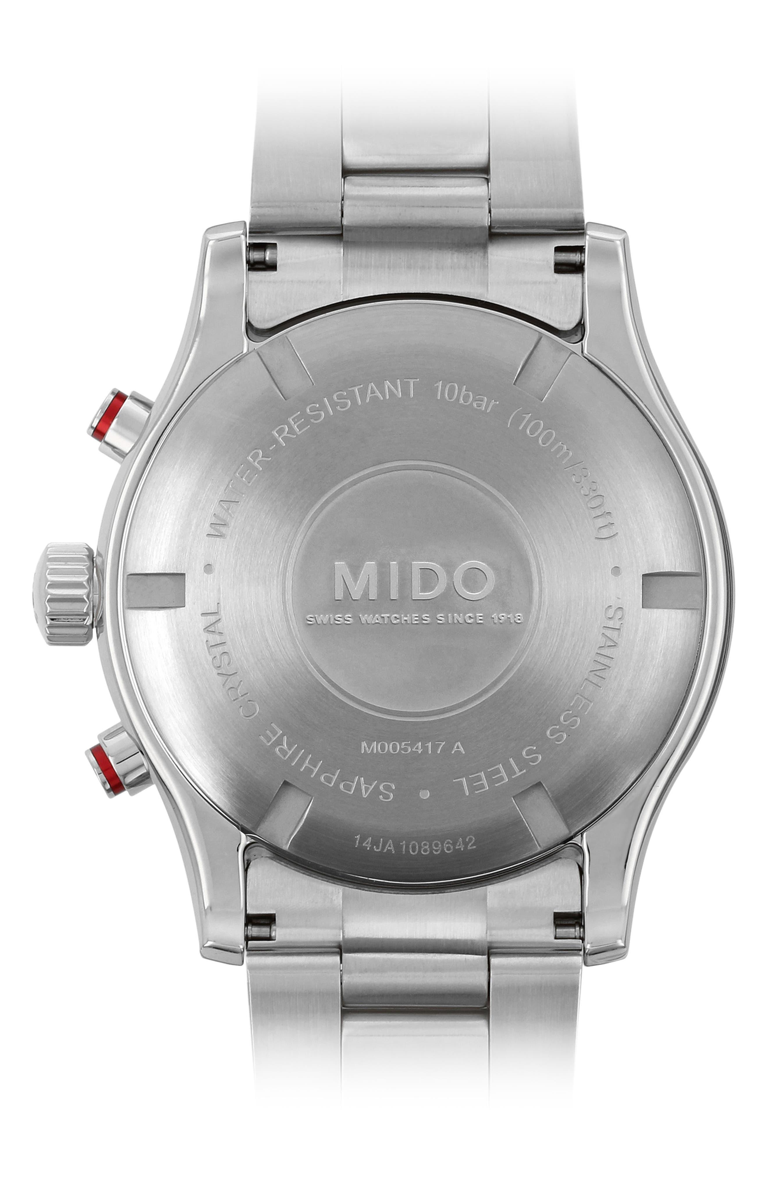 Multifort Chronograph Bracelet Watch, 42mm,                             Alternate thumbnail 3, color,                             Silver/ Black/ Silver