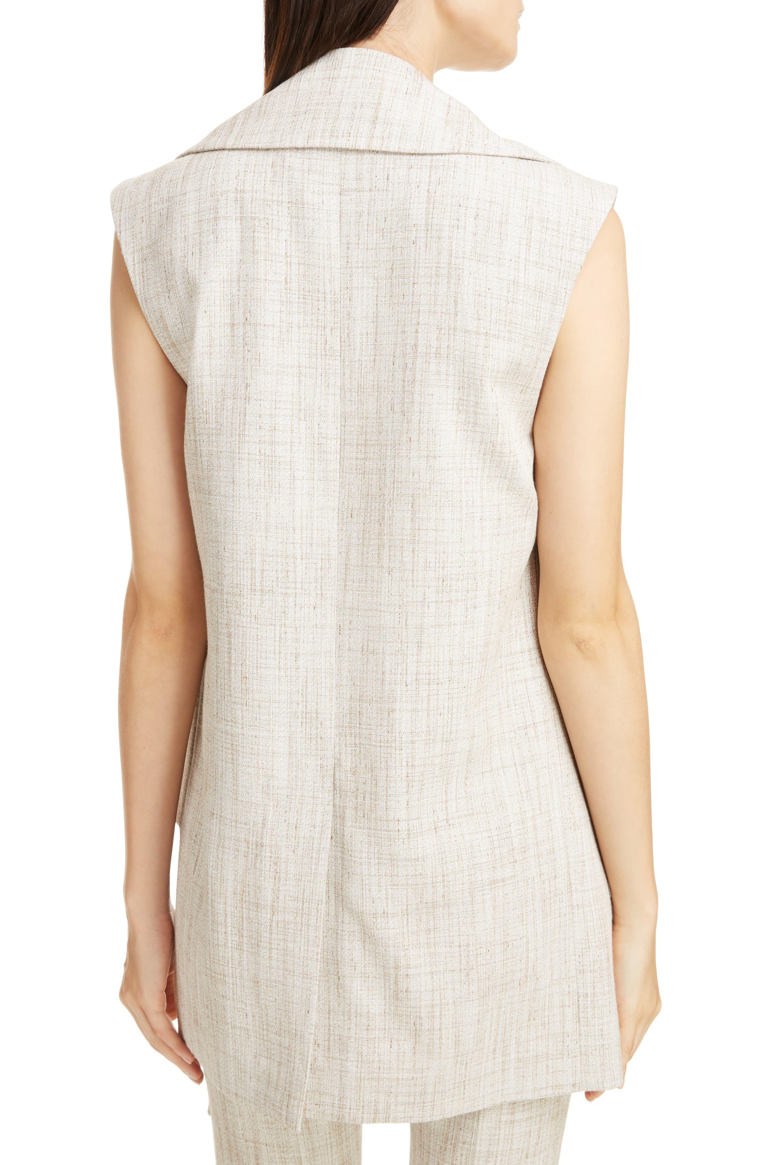 Asymmetrical Tweed Vest,                             Alternate thumbnail 2, color,                             White-Beige
