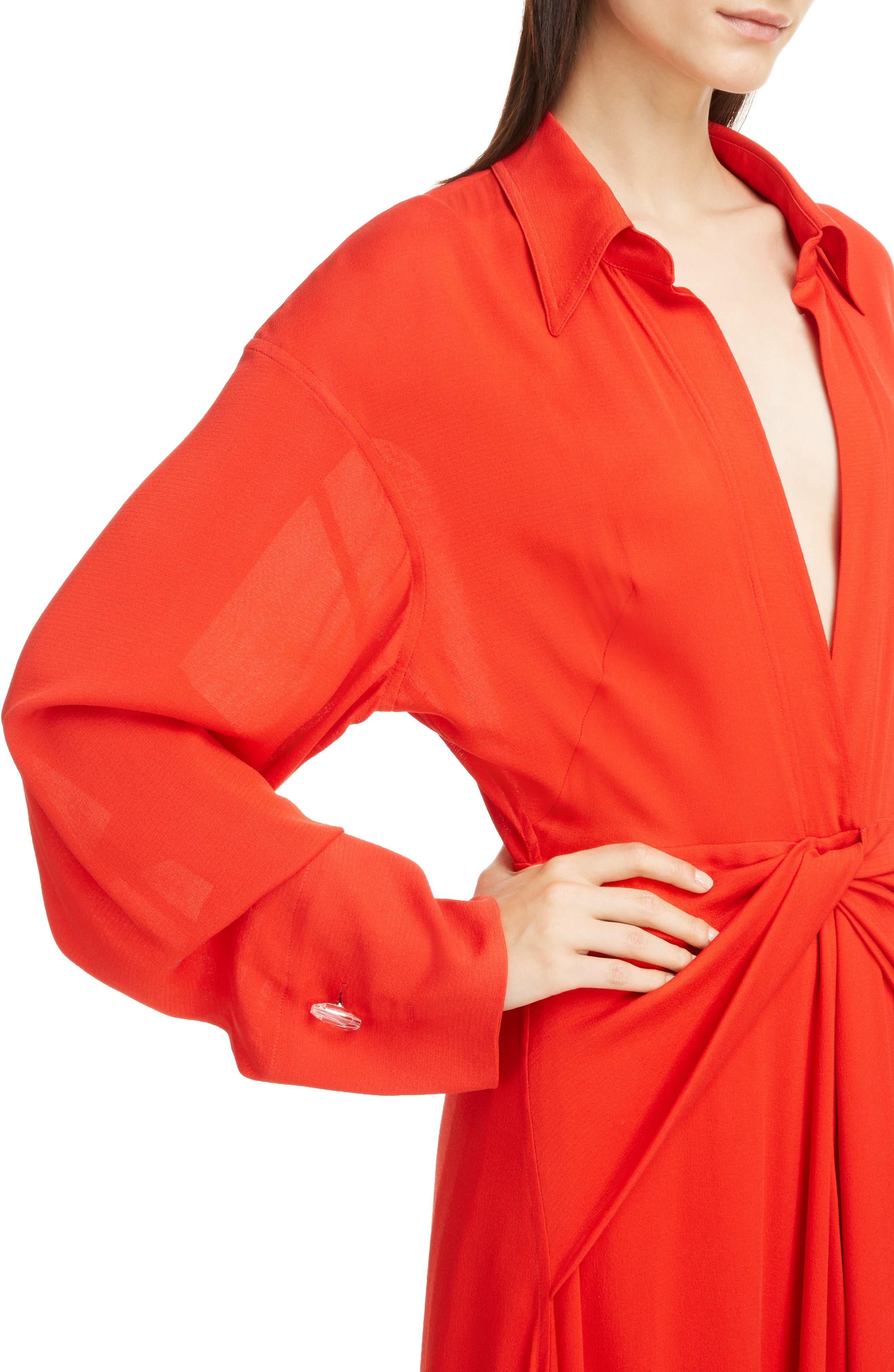 Twist Waist Silk Dress,                             Alternate thumbnail 4, color,                             Bright Red
