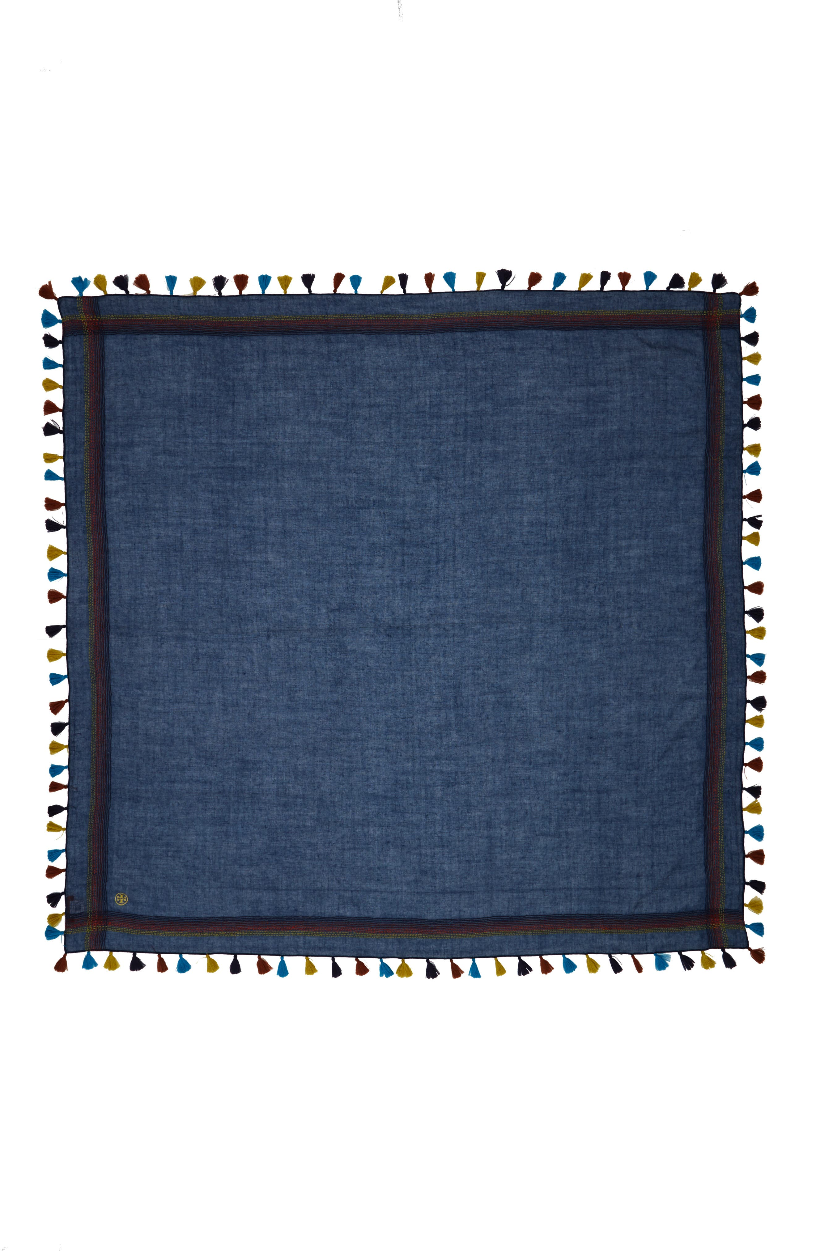 Embroidered Tassel Trim Wool Scarf,                             Alternate thumbnail 2, color,                             Navy
