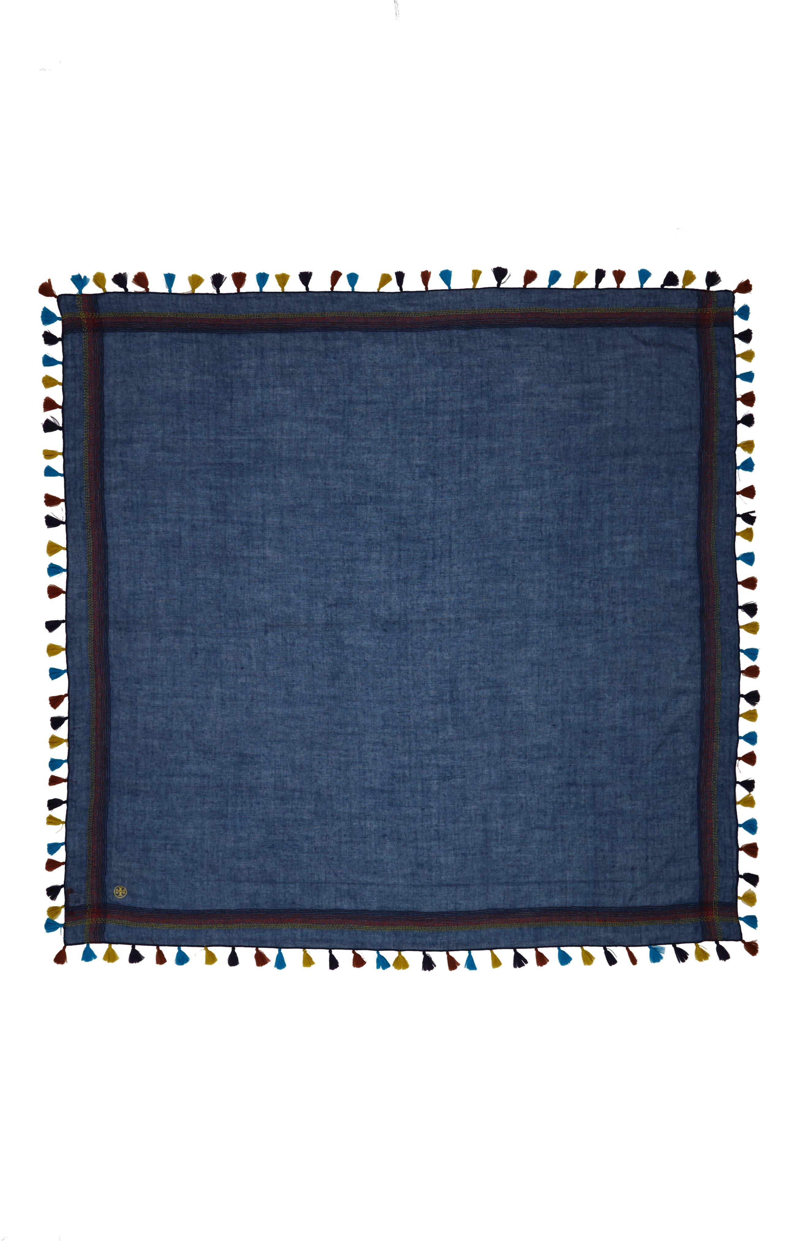 Alternate Image 2  - Tory Burch Embroidered Tassel Trim Wool Scarf