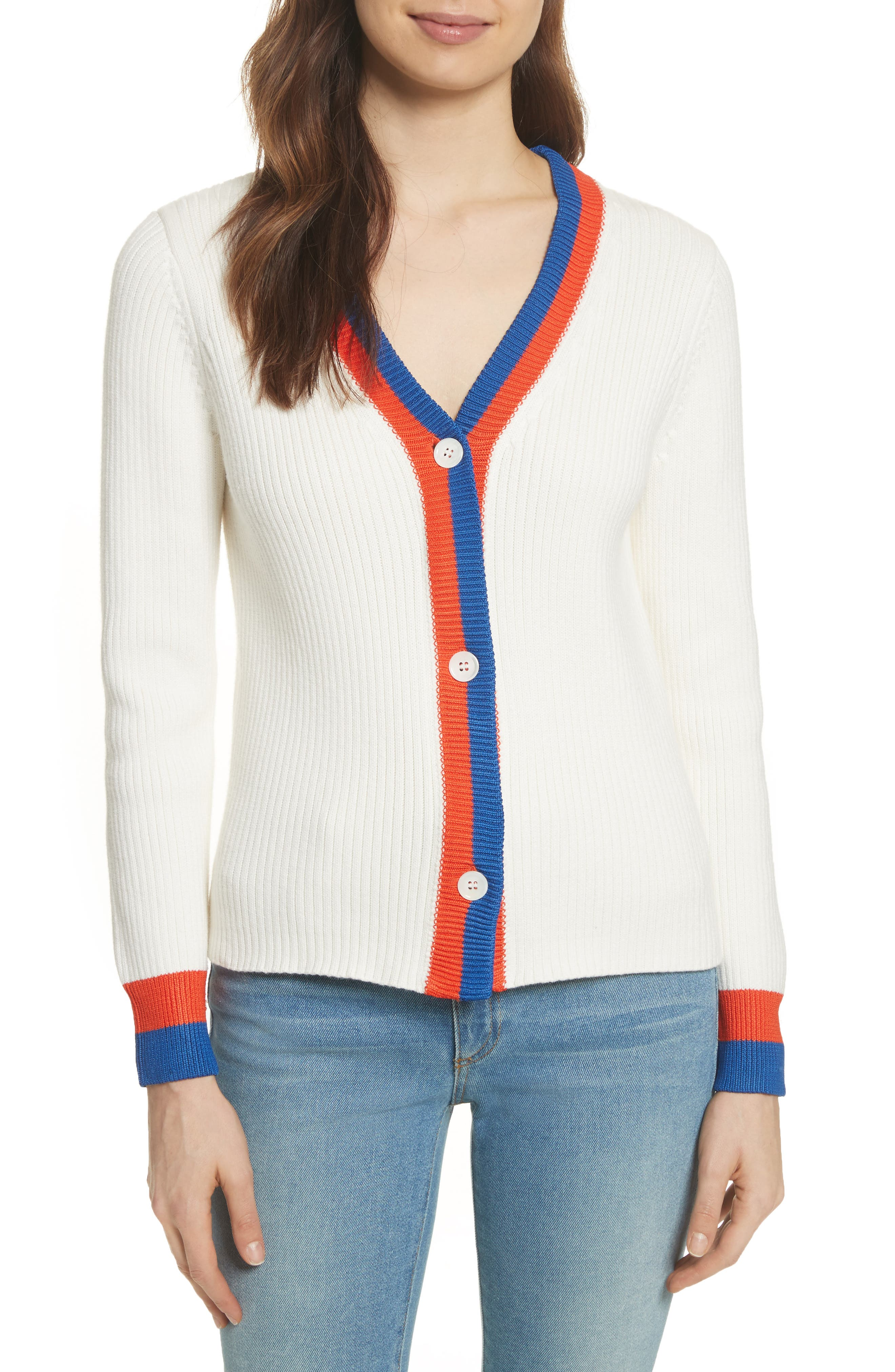 The Thompson Button Cardigan,                             Main thumbnail 1, color,                             Cream/ Poppy/ Navy