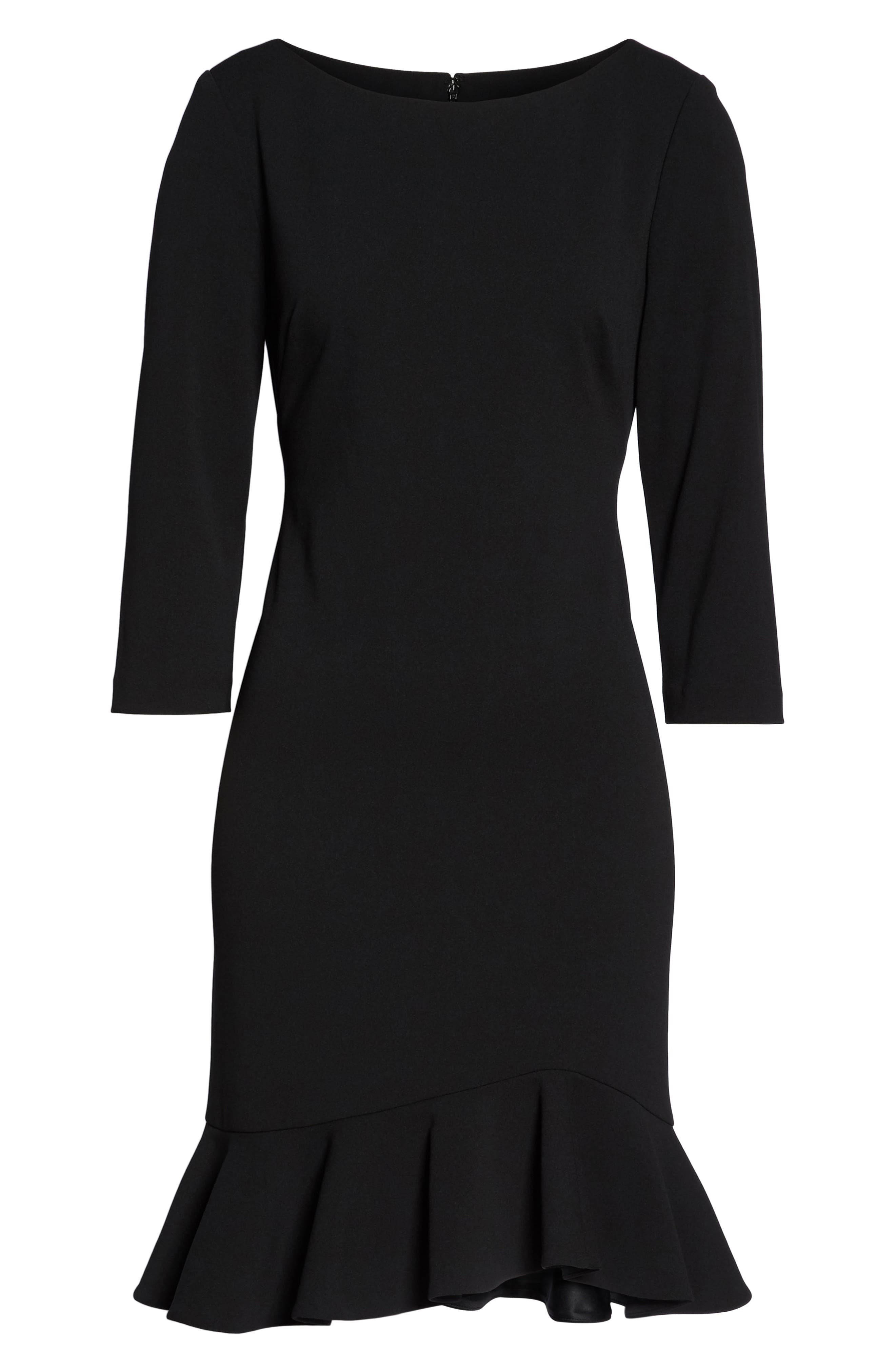 Crepe Ruffle Hem Body-Con Dress,                             Alternate thumbnail 6, color,                             Black