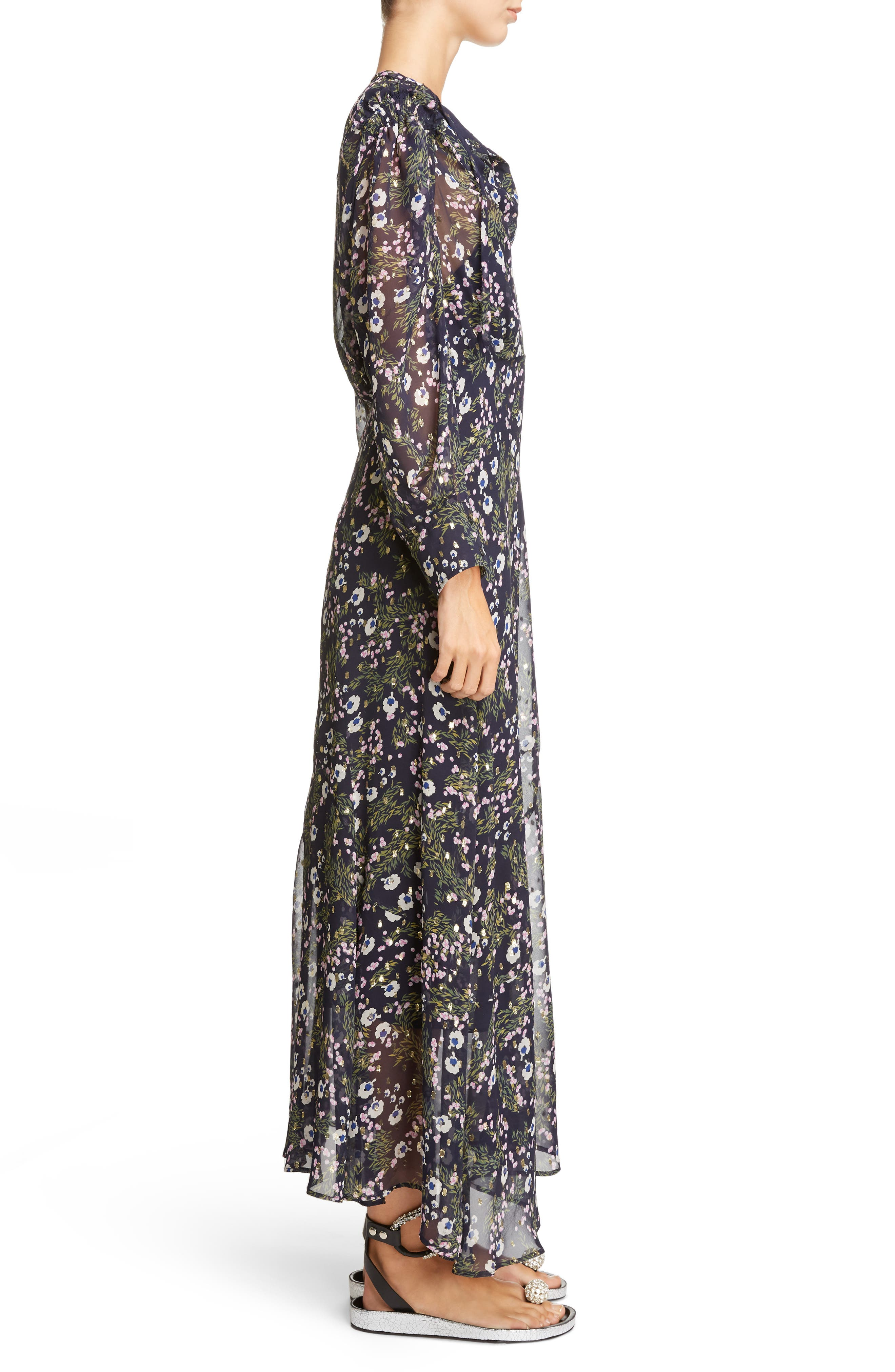 Metallic Bloom Silk Maxi Dress,                             Alternate thumbnail 3, color,                             Midnight