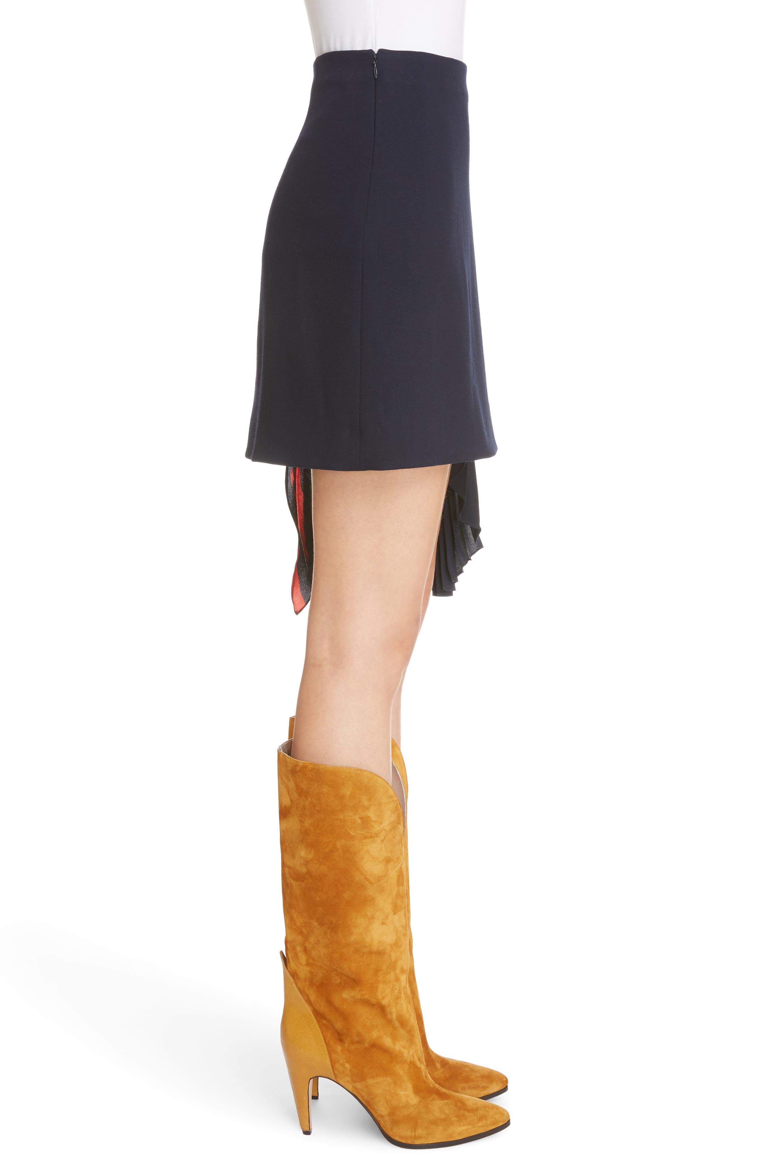 Pleat Panel Wool Skirt,                             Alternate thumbnail 4, color,                             Navy/ Red