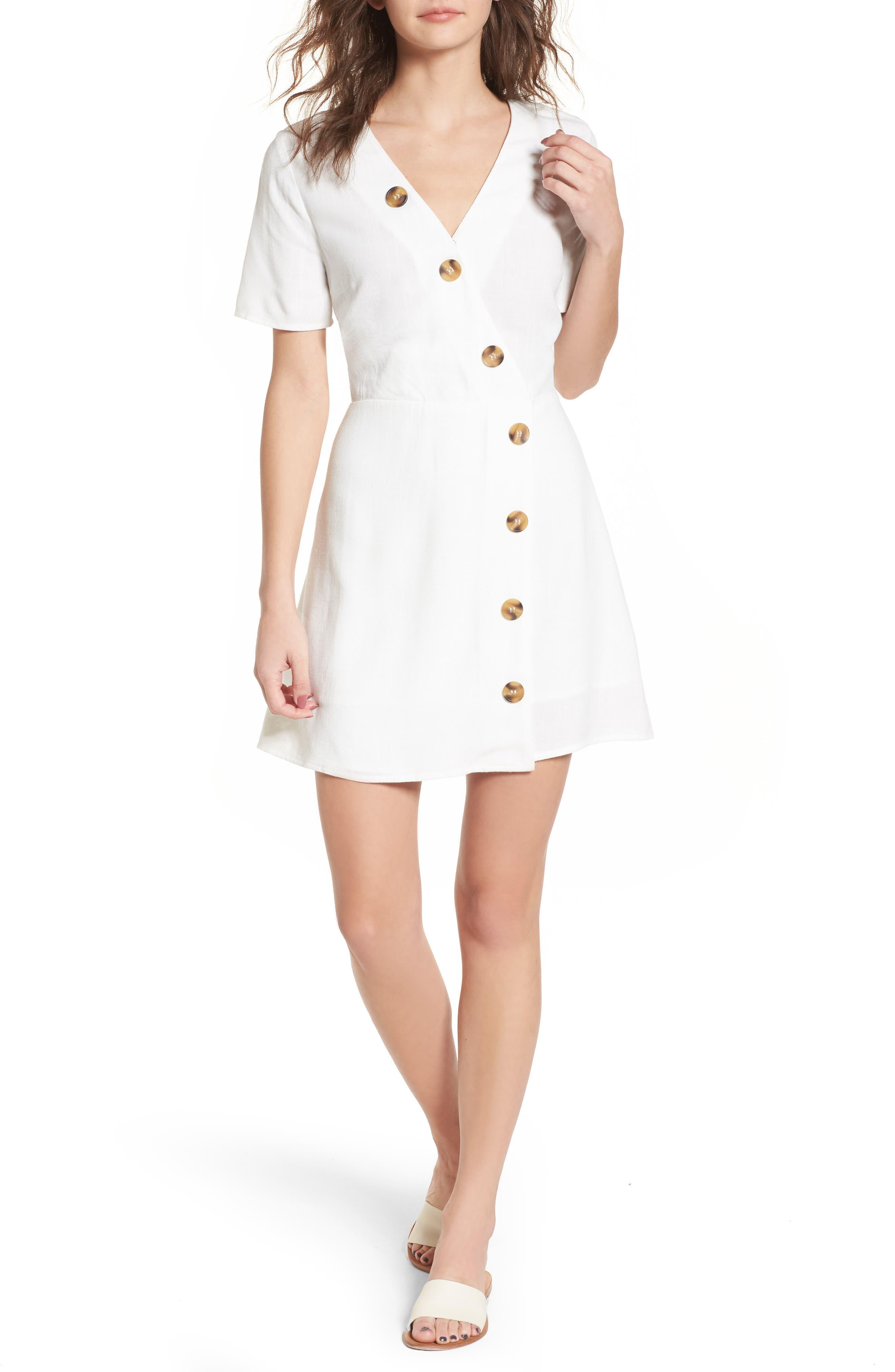 Moon River Asymmetrical Button Front Dress