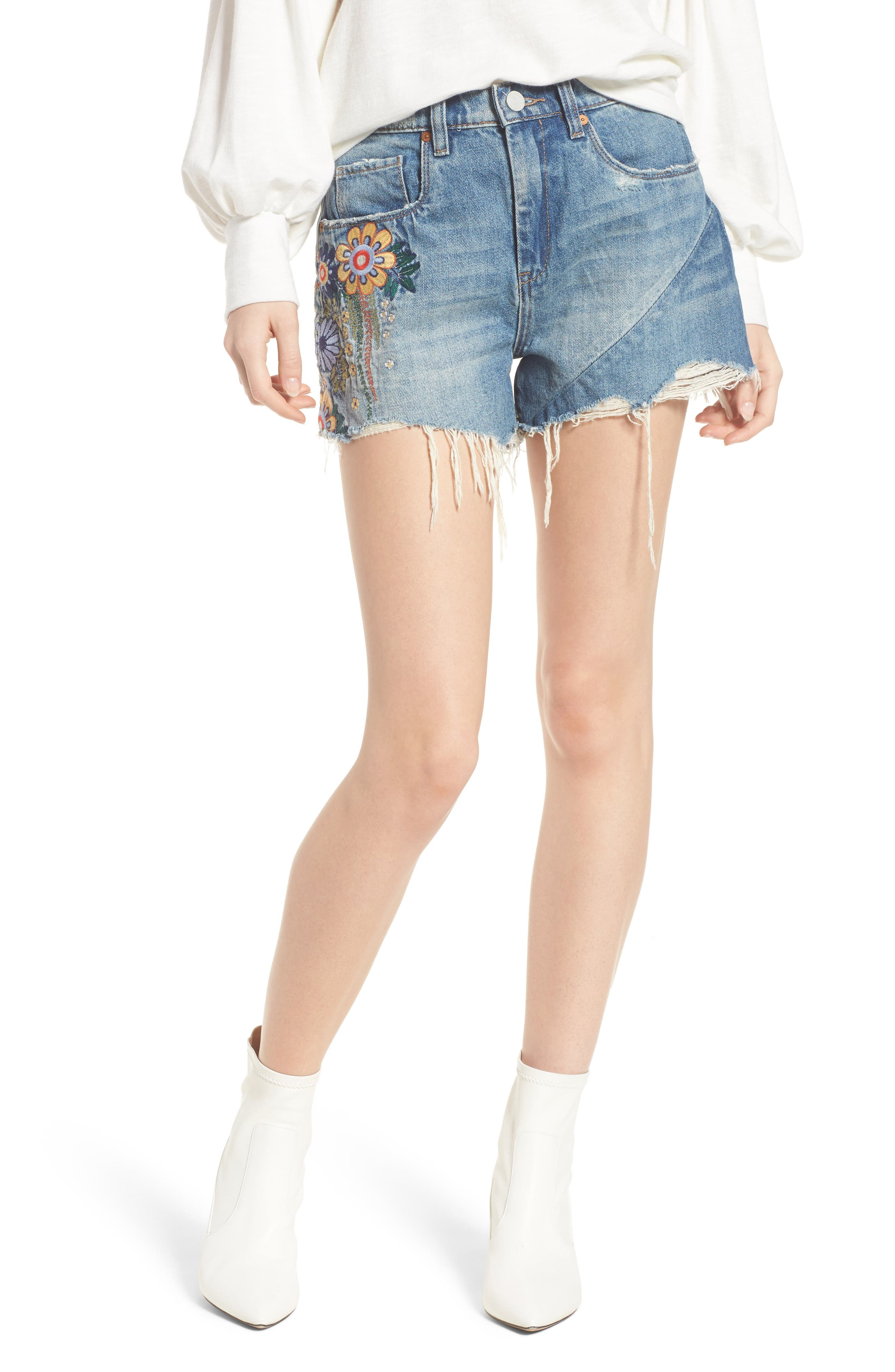Sonic Bloom Embroidered Denim Shorts,                             Main thumbnail 1, color,                             Blue