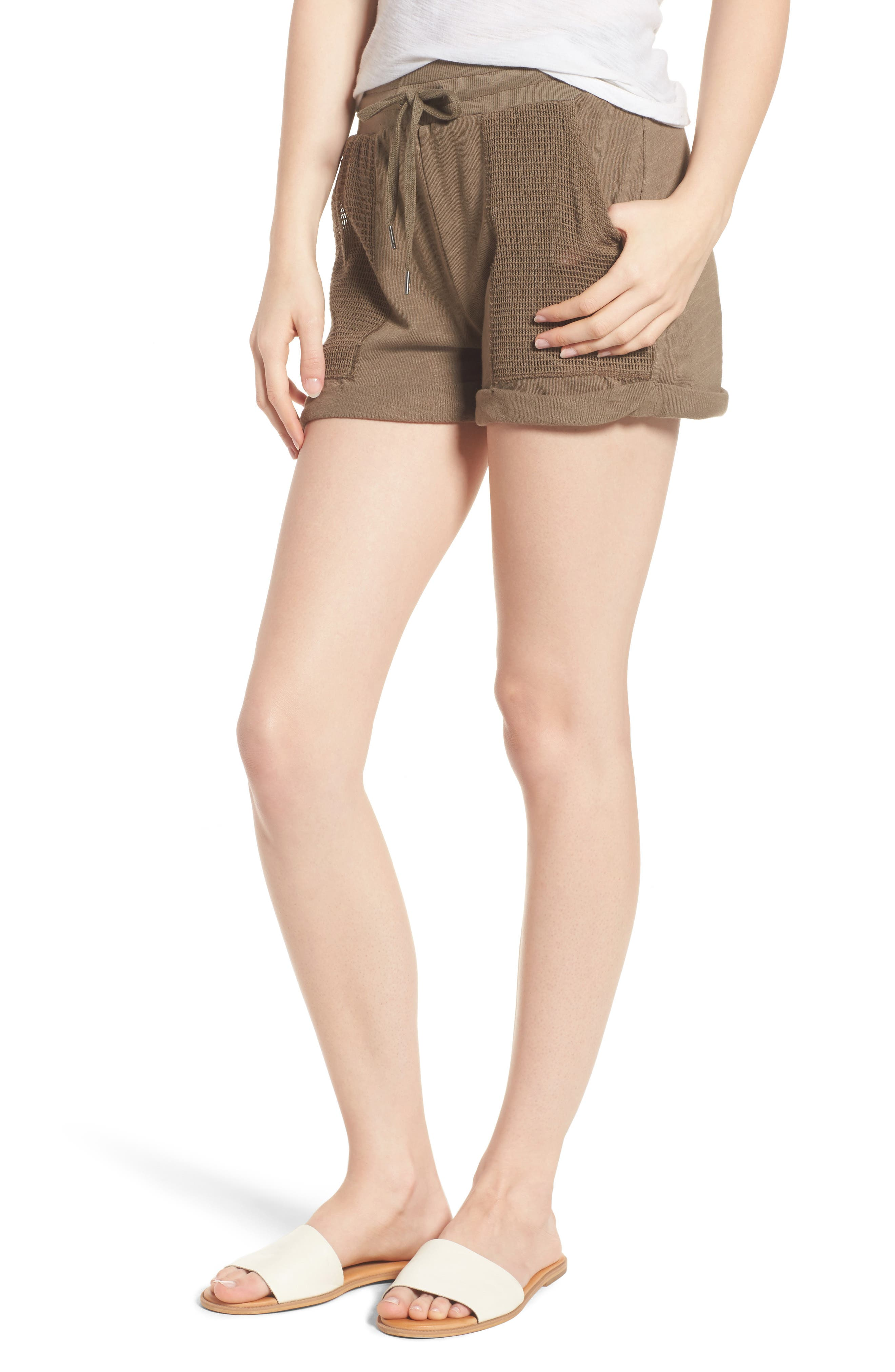 Knit Shorts,                         Main,                         color, Olive