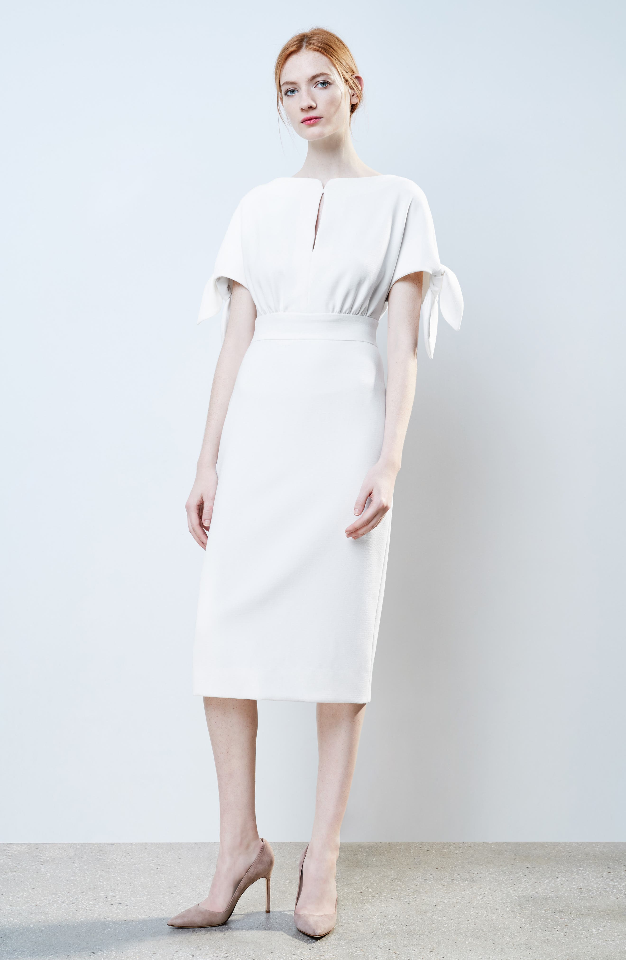 Tie Sleeve Wool Blend Sheath Dress,                             Alternate thumbnail 2, color,                             White