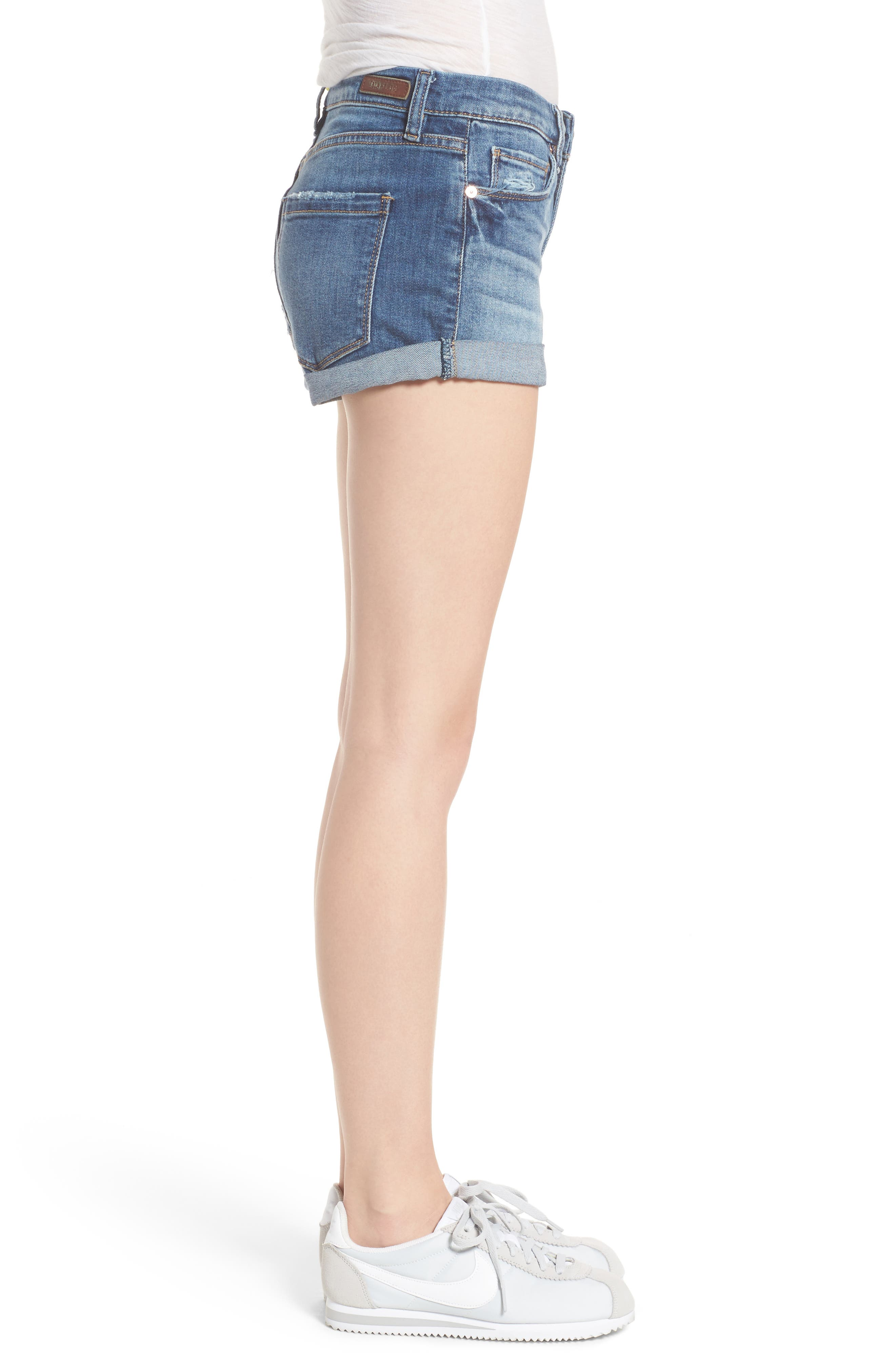 Plalay Hard Cuffed Jean Shorts,                             Alternate thumbnail 3, color,                             Blue