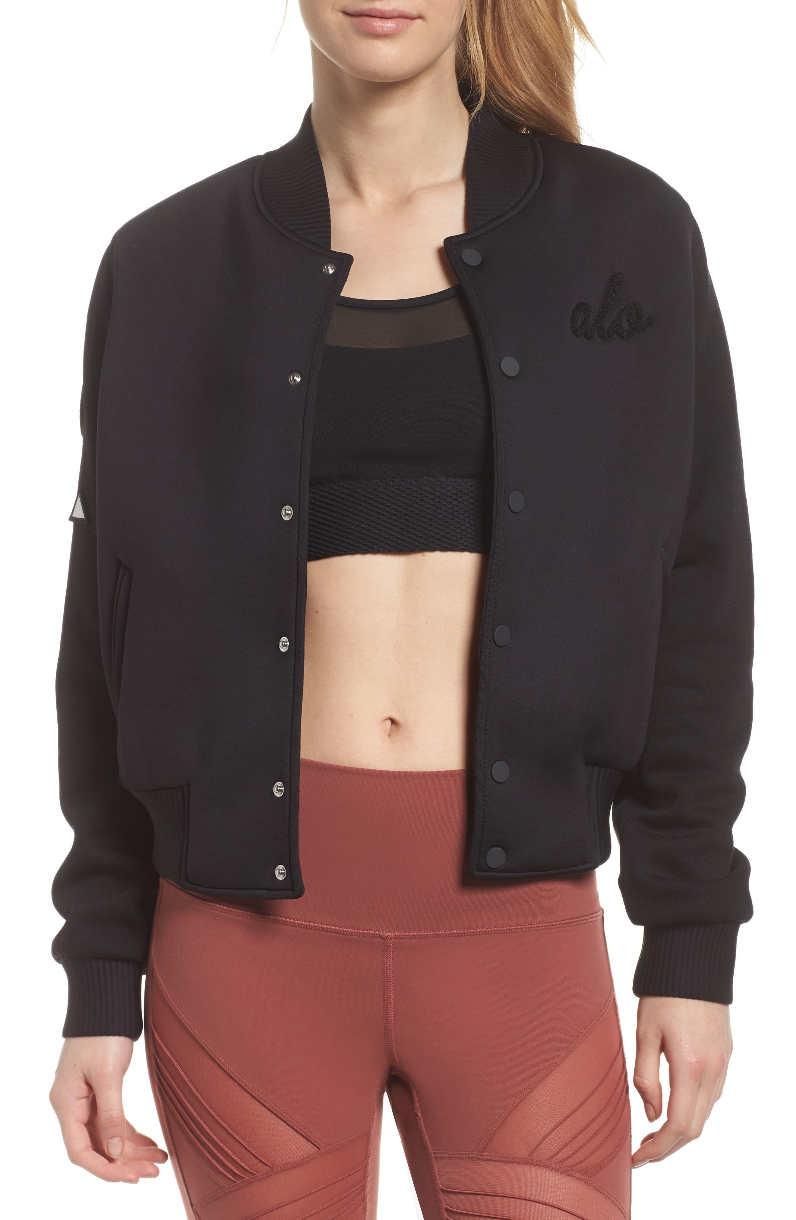League Varsity Jacket,                             Main thumbnail 1, color,                             Black/ Alo Patches