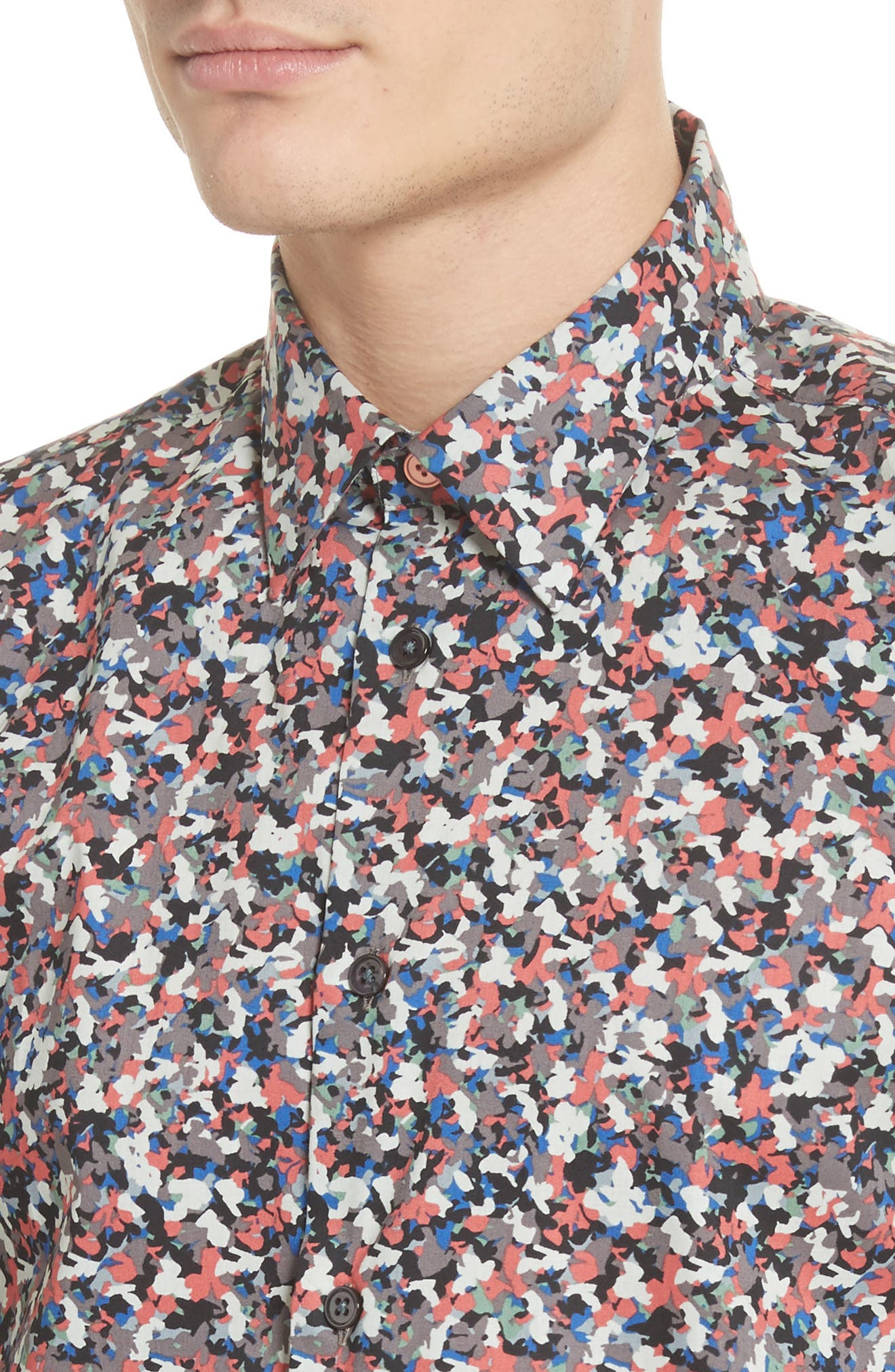 Tailored Print Shirt,                             Alternate thumbnail 2, color,                             Red
