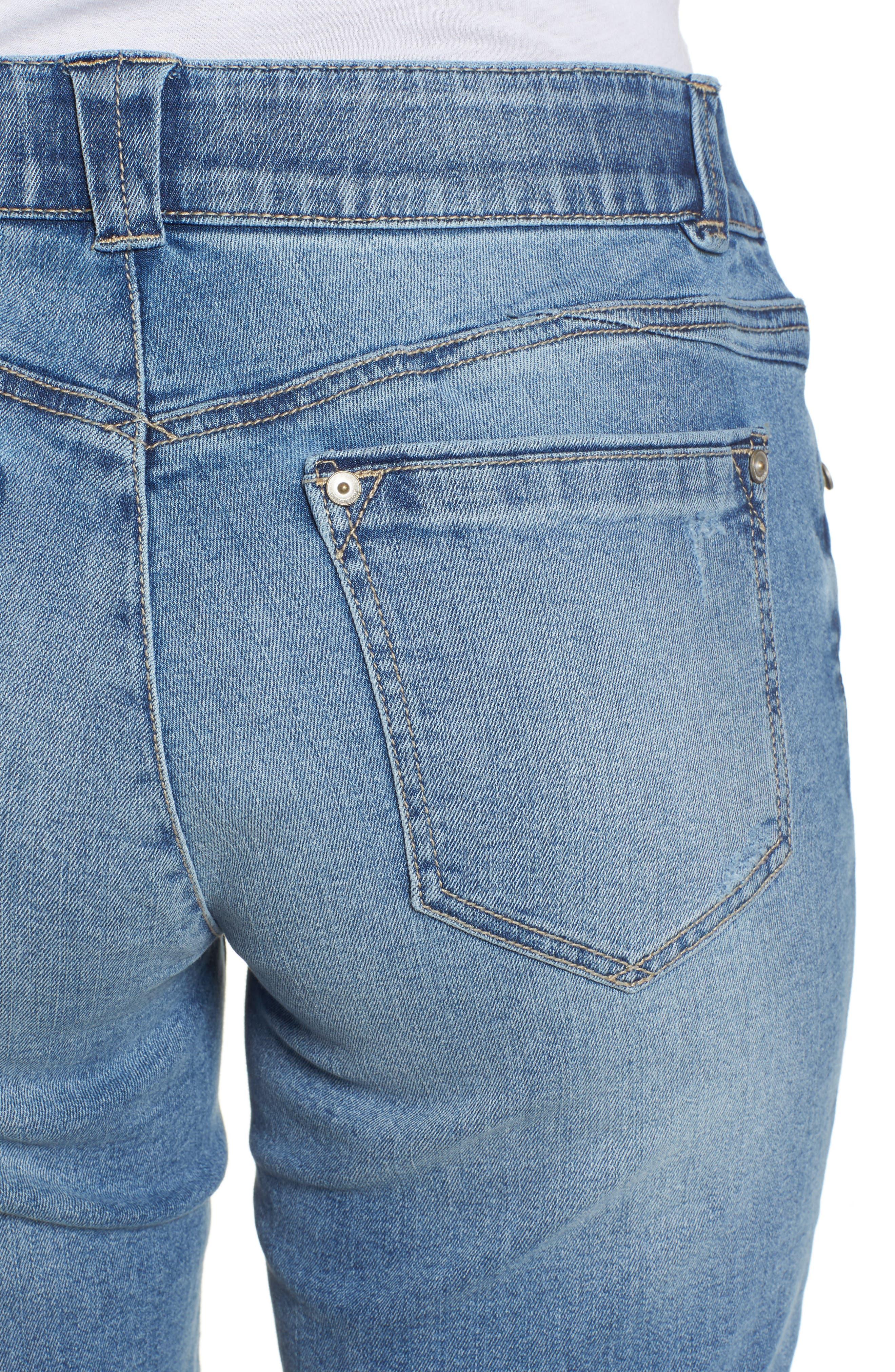 Ab-solution Cuffed Denim Shorts,                             Alternate thumbnail 4, color,                             Light Blue
