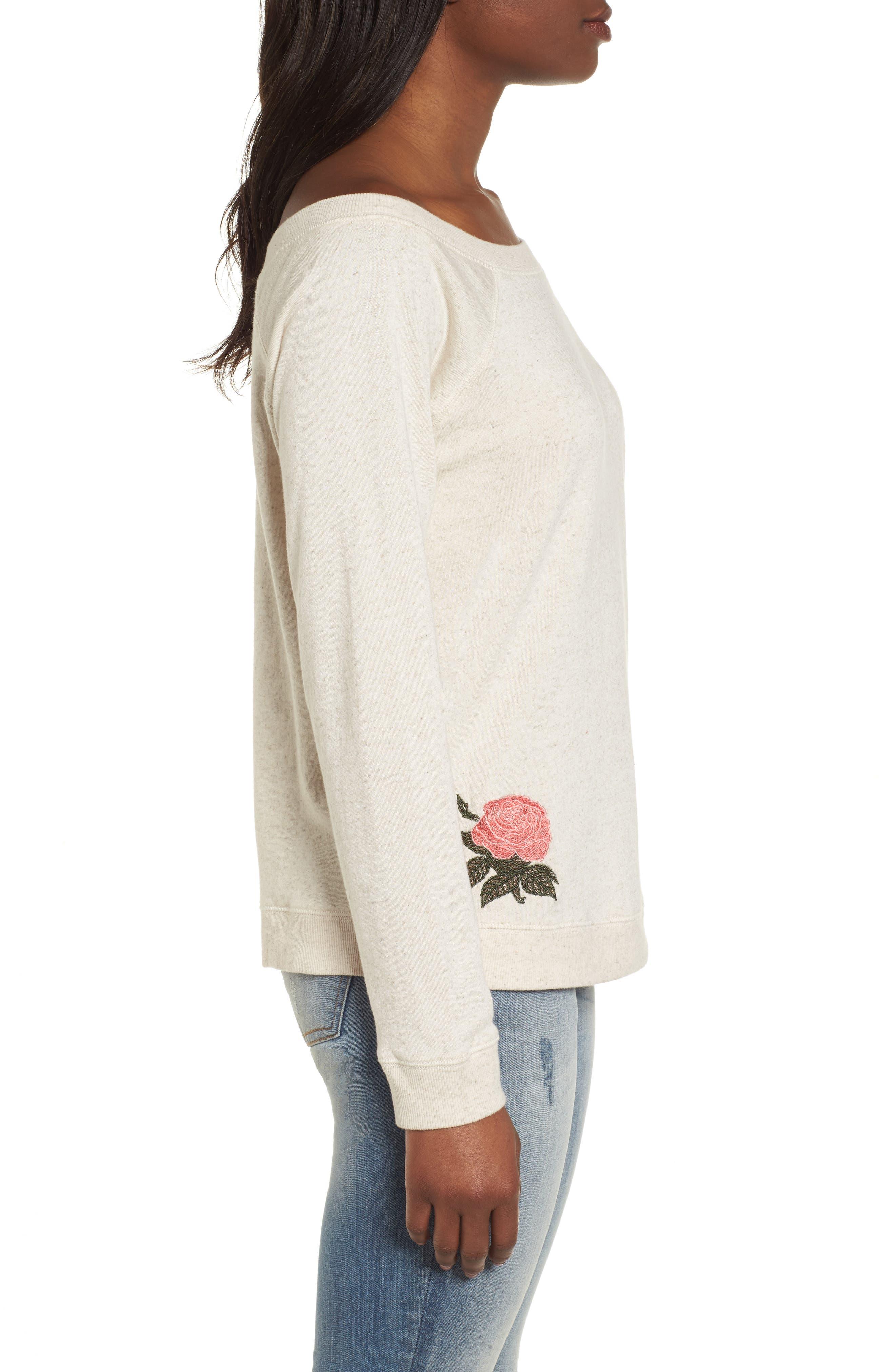 Embroidered Rose Sweatshirt,                             Alternate thumbnail 3, color,                             Natural Multi