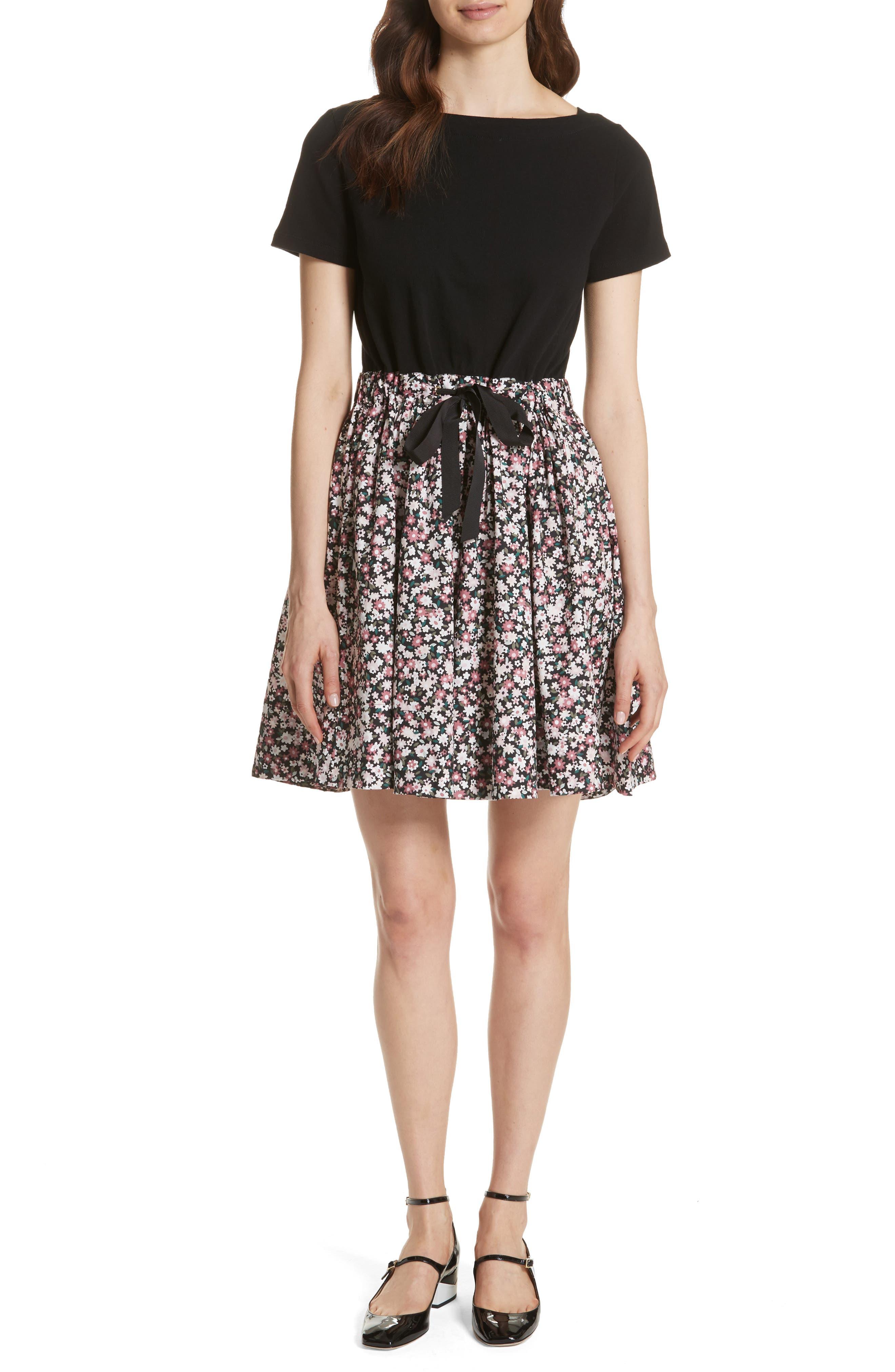wildflower mixed media dress,                         Main,                         color, Black