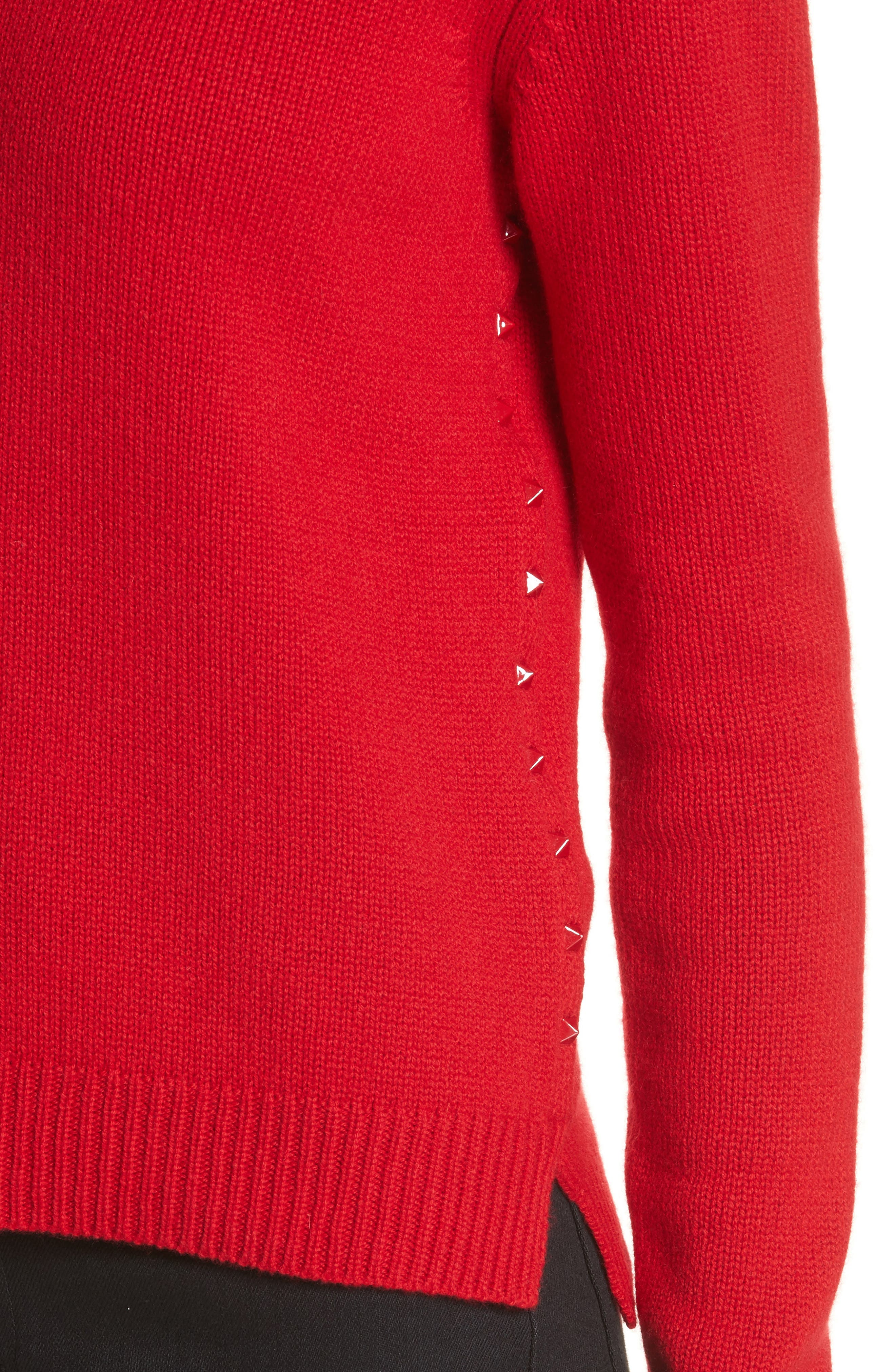 Rockstud Cashmere Sweater,                             Alternate thumbnail 4, color,                             Red
