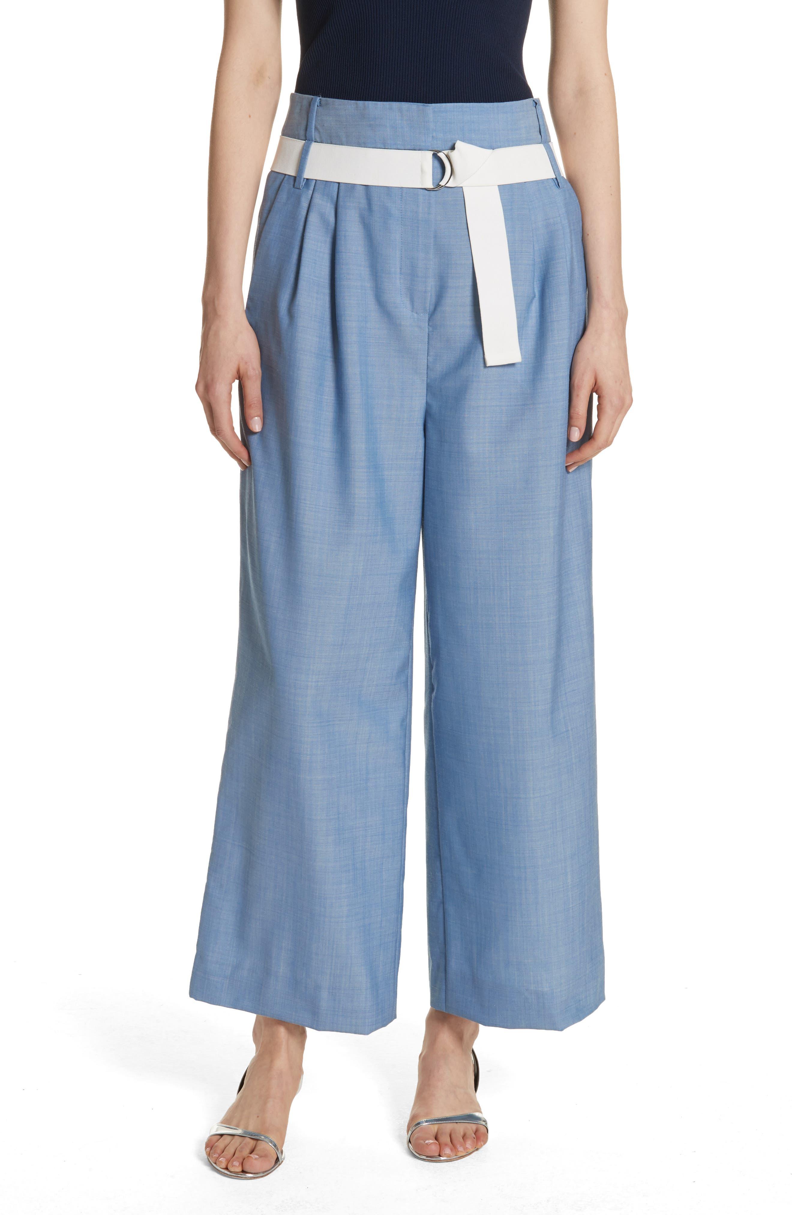 Tibi Belted Wide Leg Crop Pants