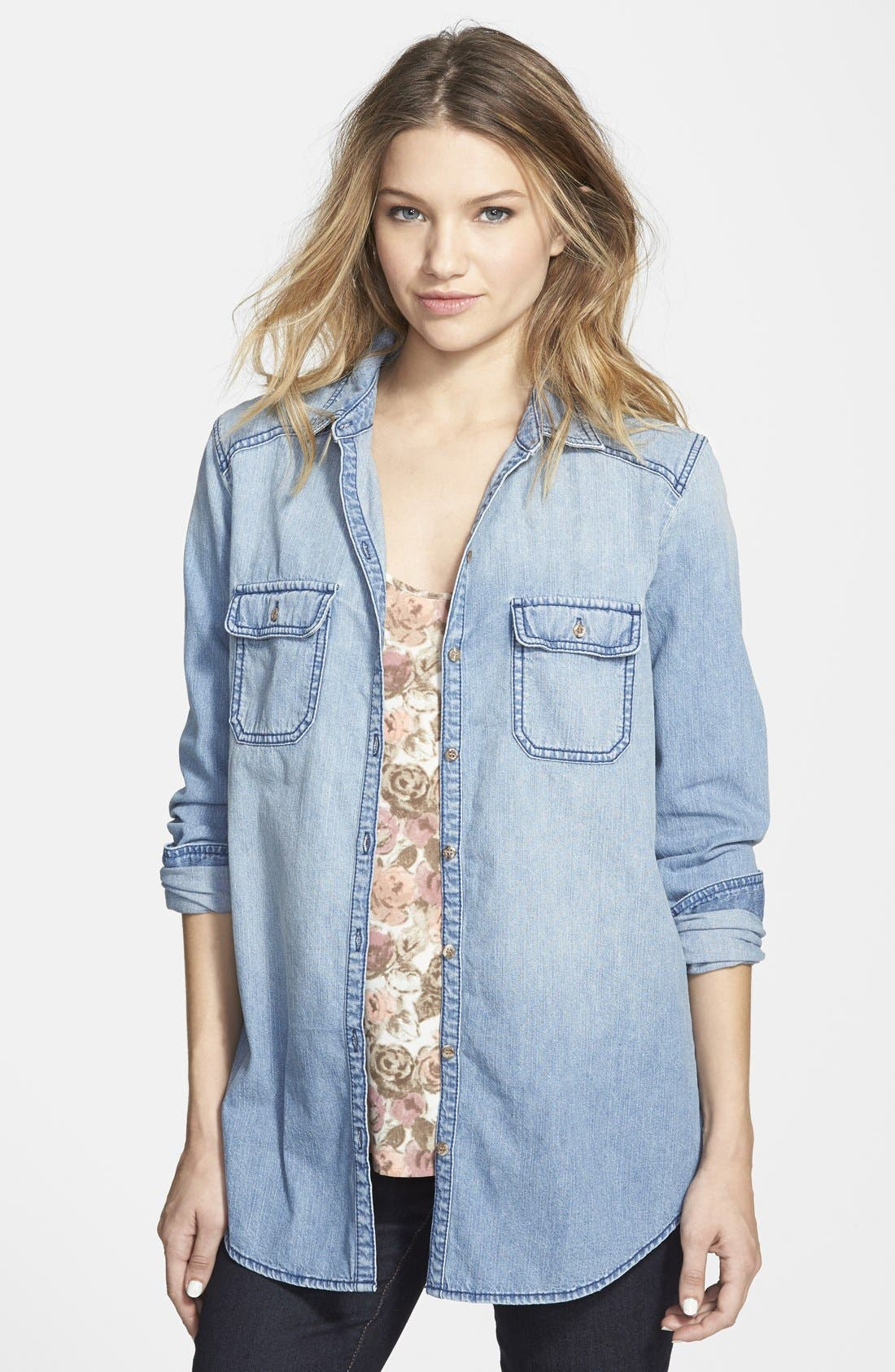 Chambray Boyfriend Shirt,                             Main thumbnail 1, color,                             Mystic Blue