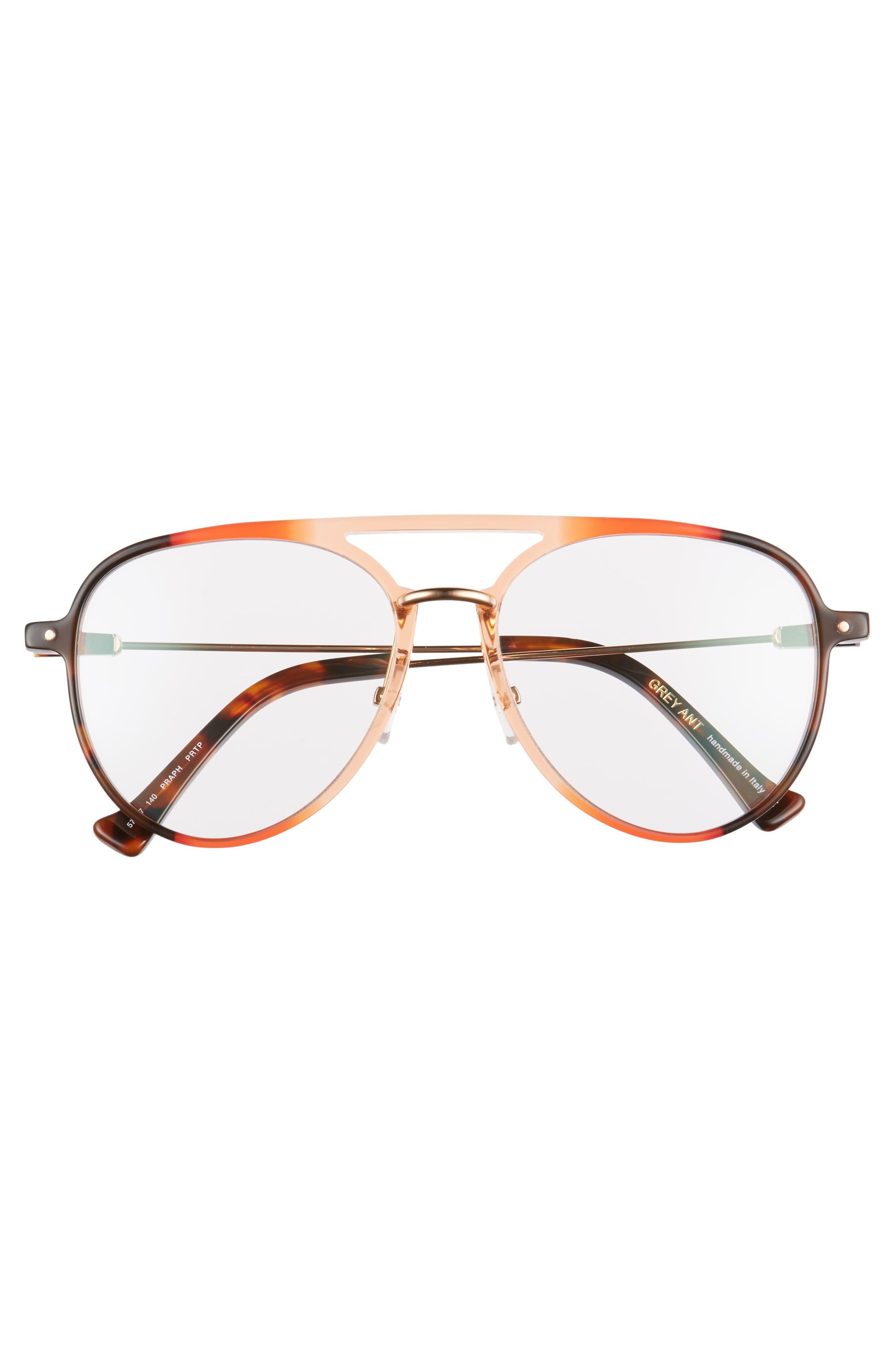 Praph 57mm Aviator Glasses,                             Alternate thumbnail 3, color,                             Clear/Amber Tort Hardware