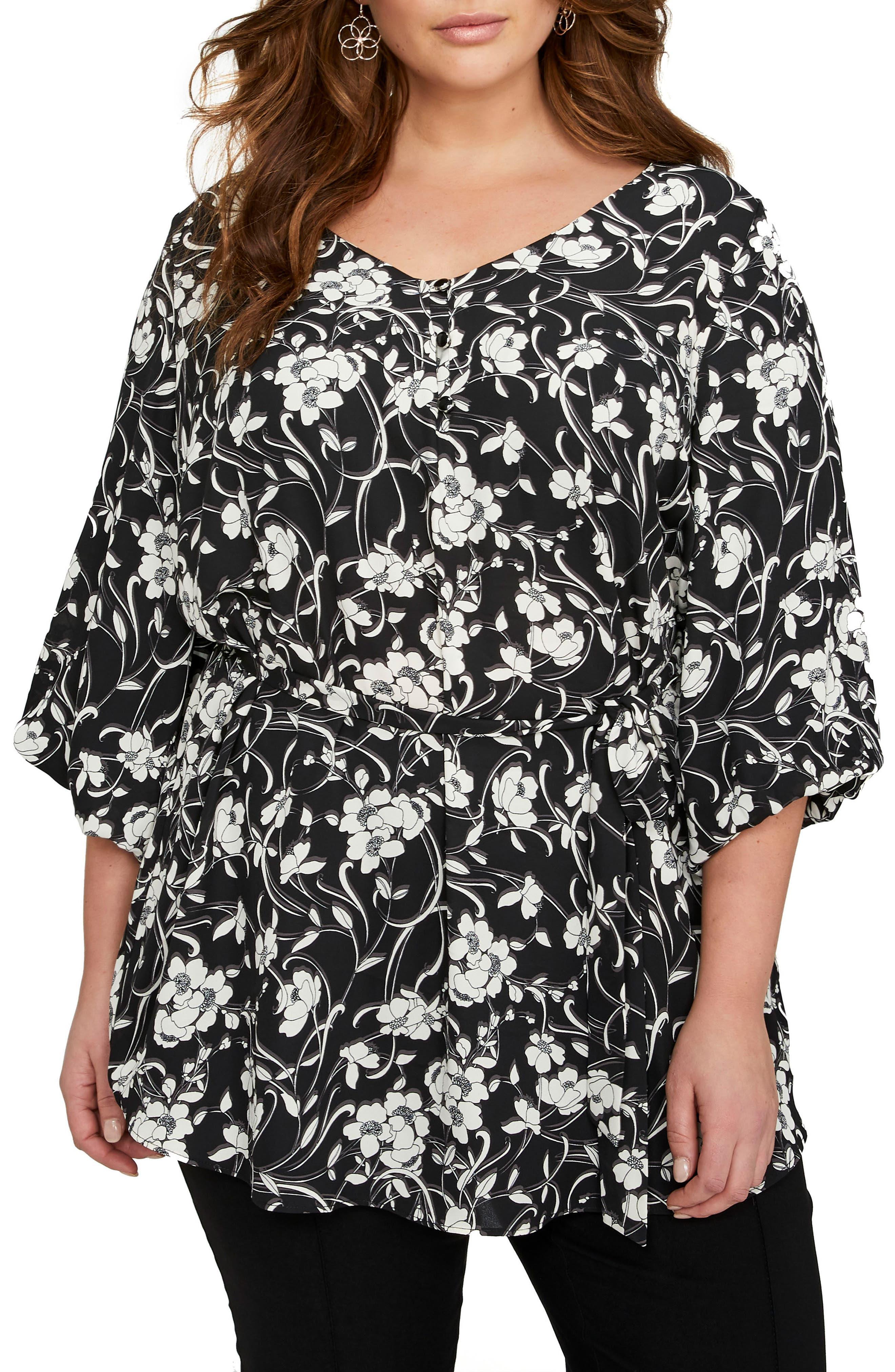 Balloon Sleeve Tunic,                             Main thumbnail 1, color,                             Floral Shadow Black Combo