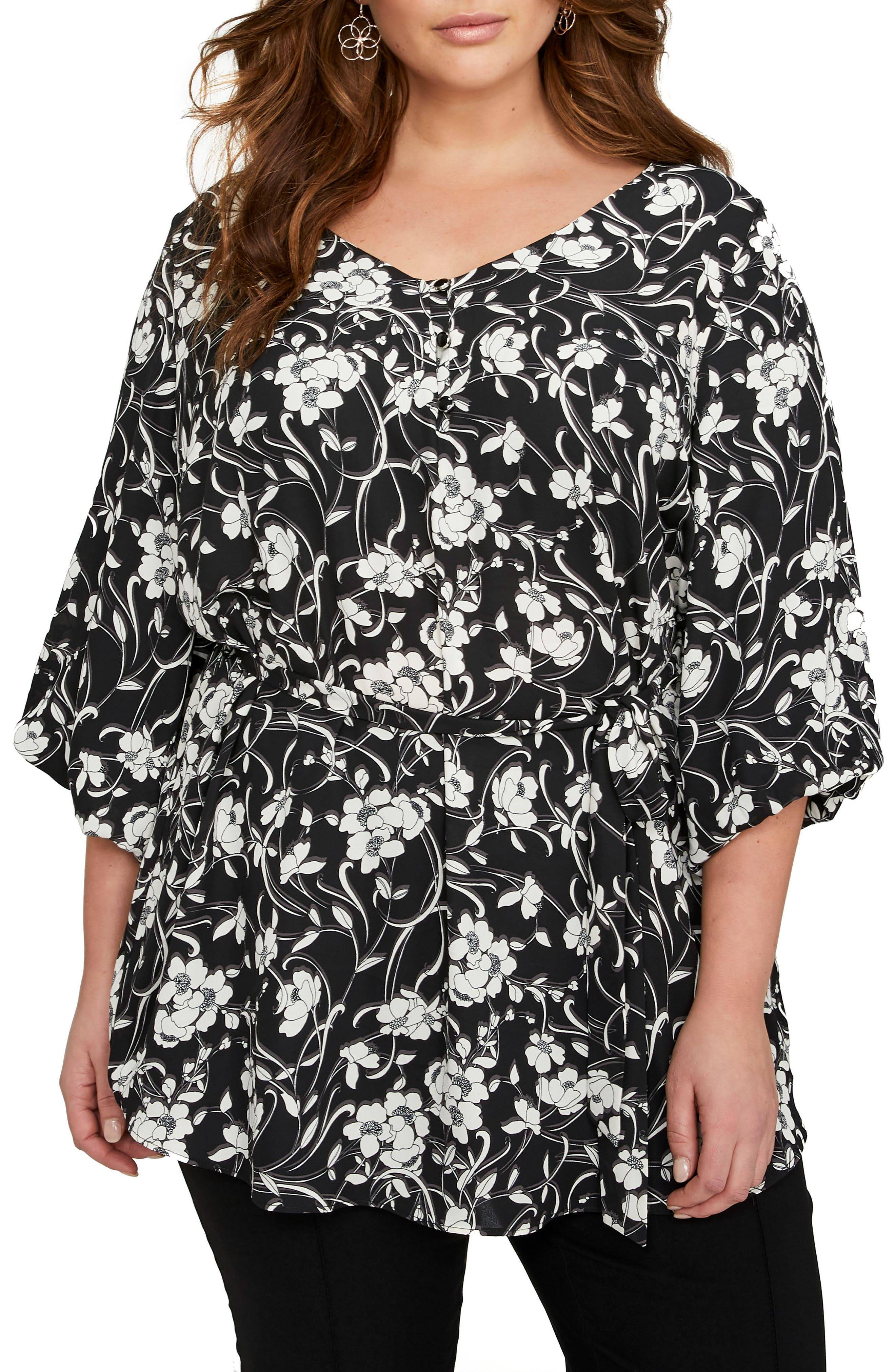 Balloon Sleeve Tunic,                         Main,                         color, Floral Shadow Black Combo