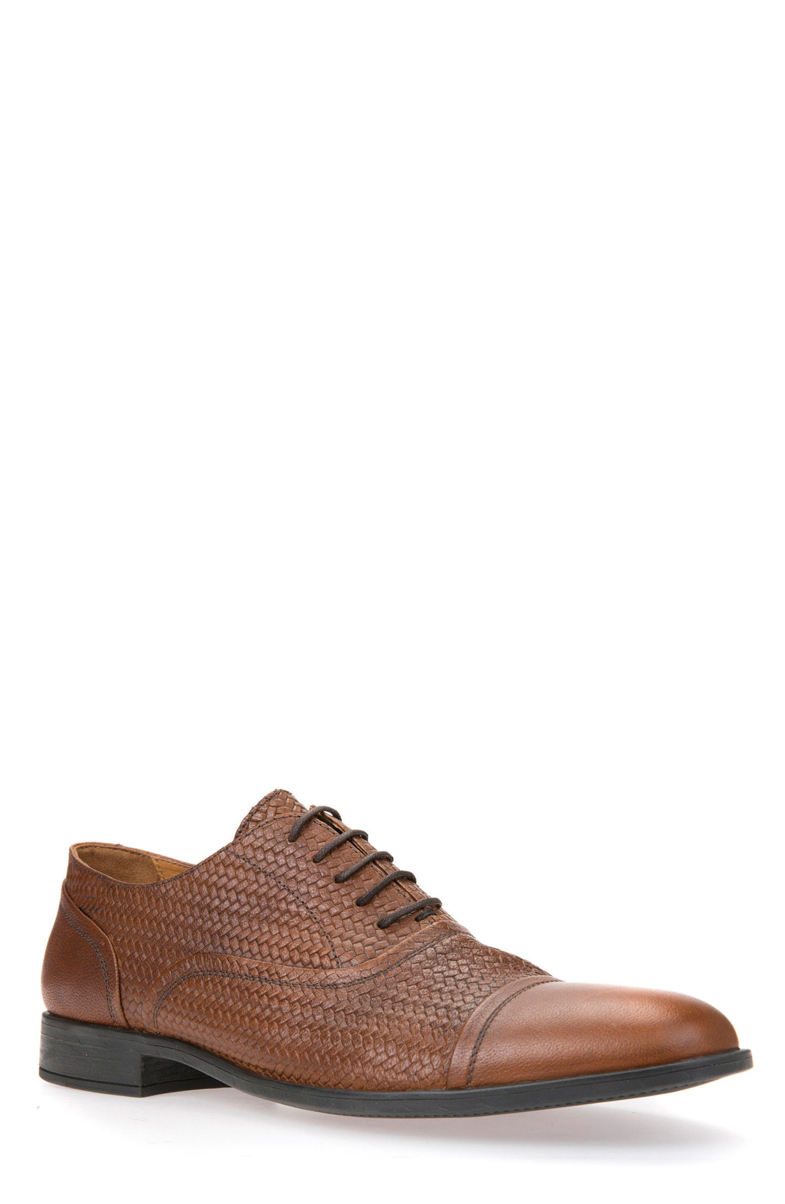 Alternate Image 1 Selected - Geox Bryceton Textured Cap Toe Oxford (Men)