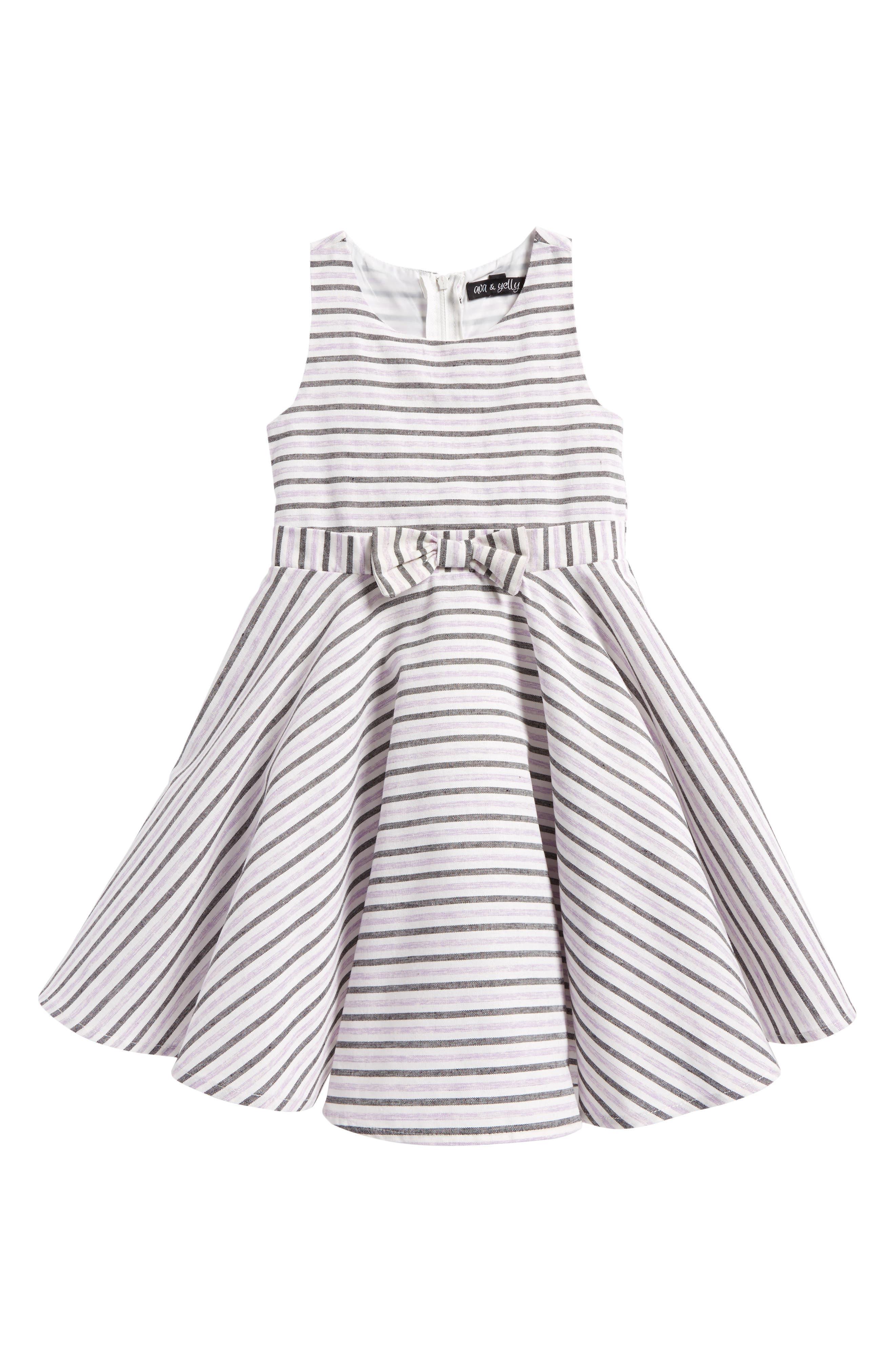 Ava & Yelly Stripe Cotton Dress (Toddler Girls & Little Girls)