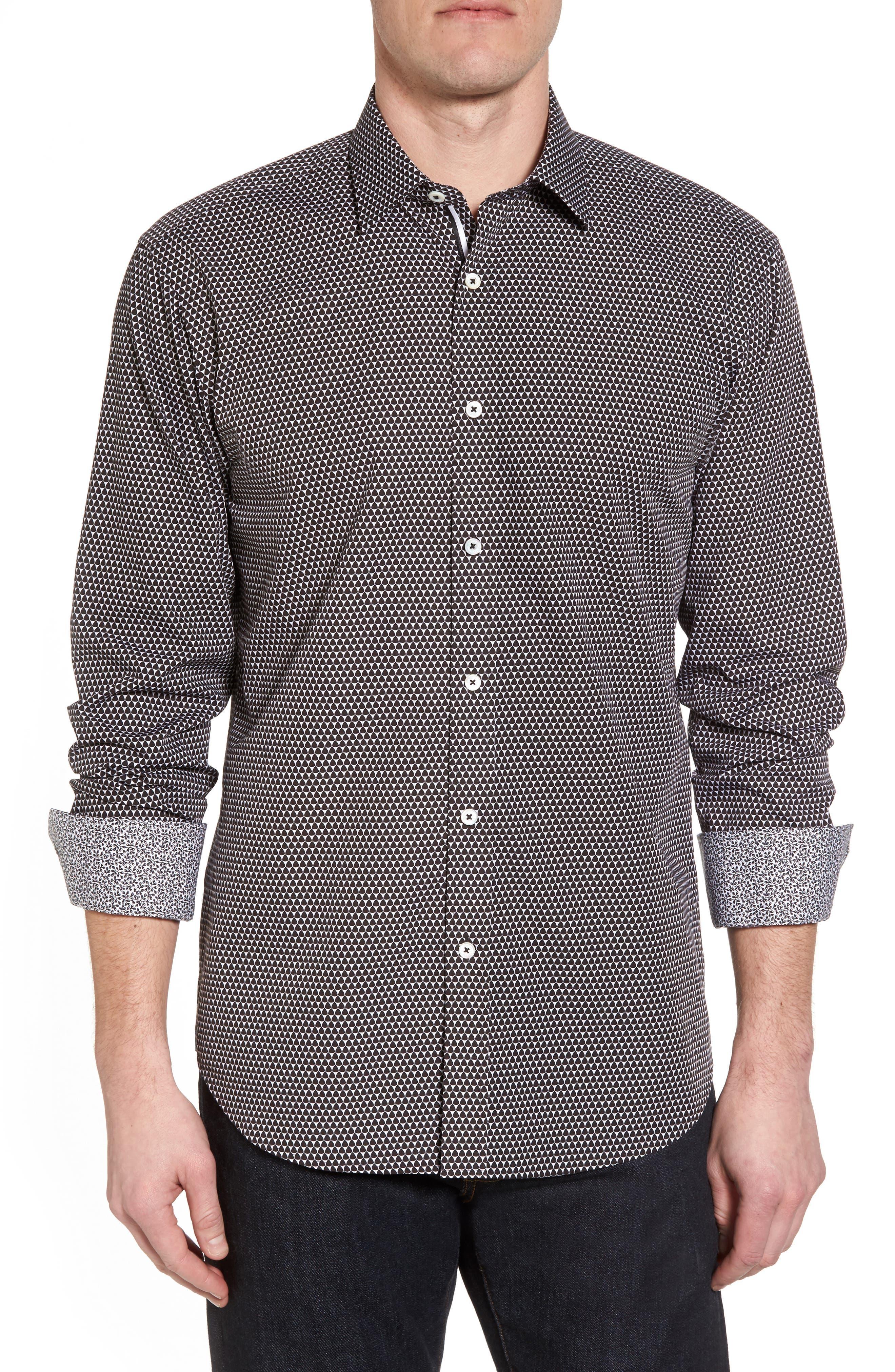 Slim Fit Geo Print Sport Shirt,                             Main thumbnail 1, color,                             Black