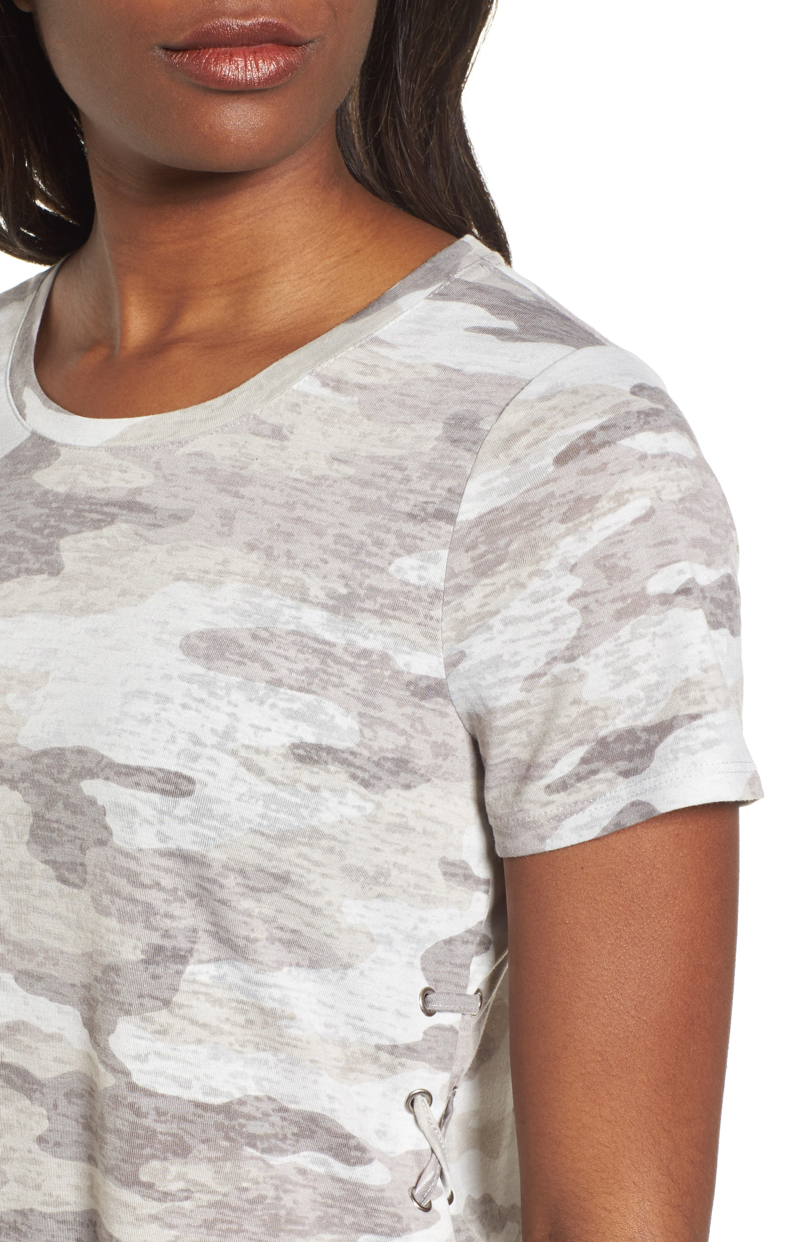 Avenue Side Lace-Up Camo Tee,                             Alternate thumbnail 4, color,                             Midnight Fog