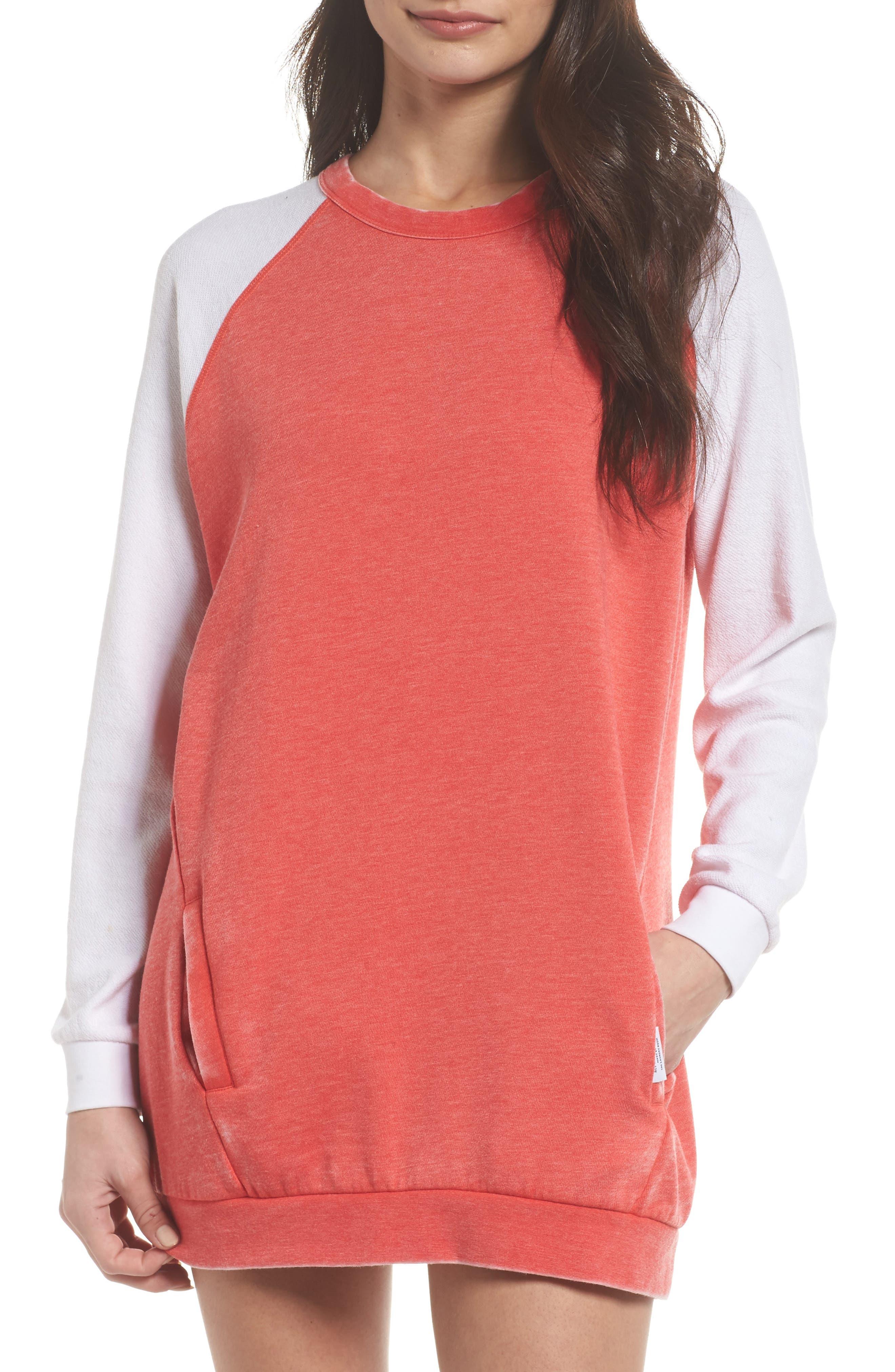 Lounge Sweatshirt Dress,                             Main thumbnail 1, color,                             Love Red/ White