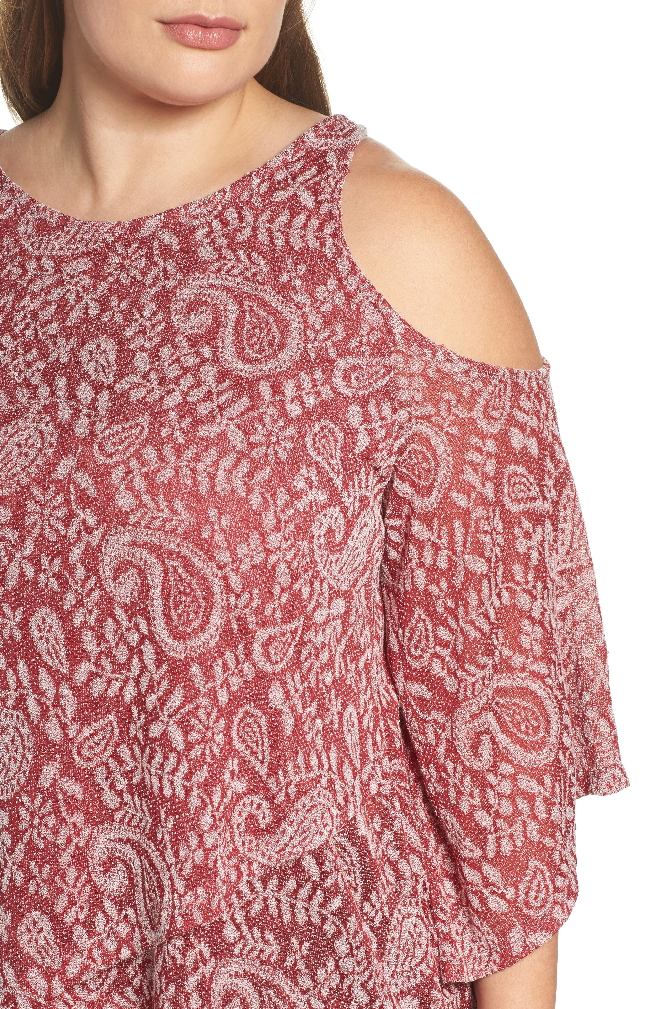 Alternate Image 4  - Lucky Brand Cold Shoulder Paisley Top (Plus Size)