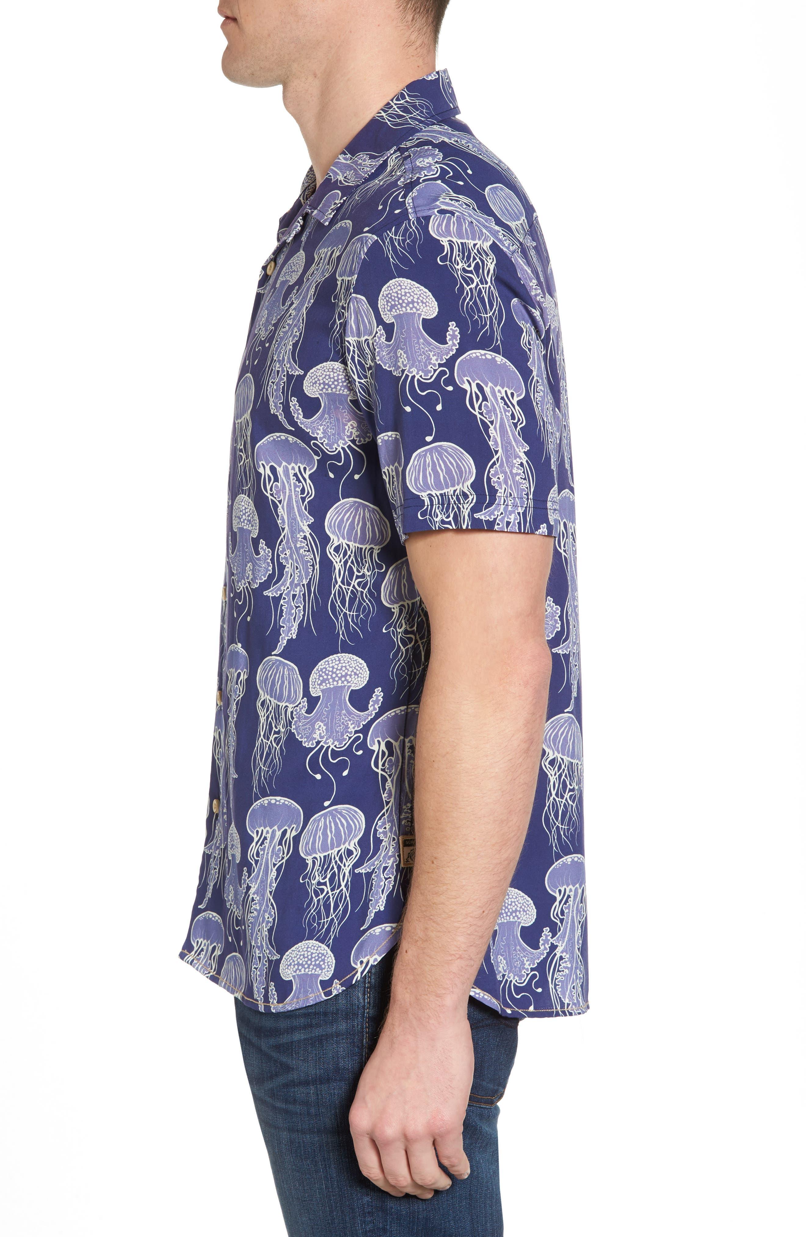 Jellyfish Print Camp Shirt,                             Alternate thumbnail 3, color,                             Grape