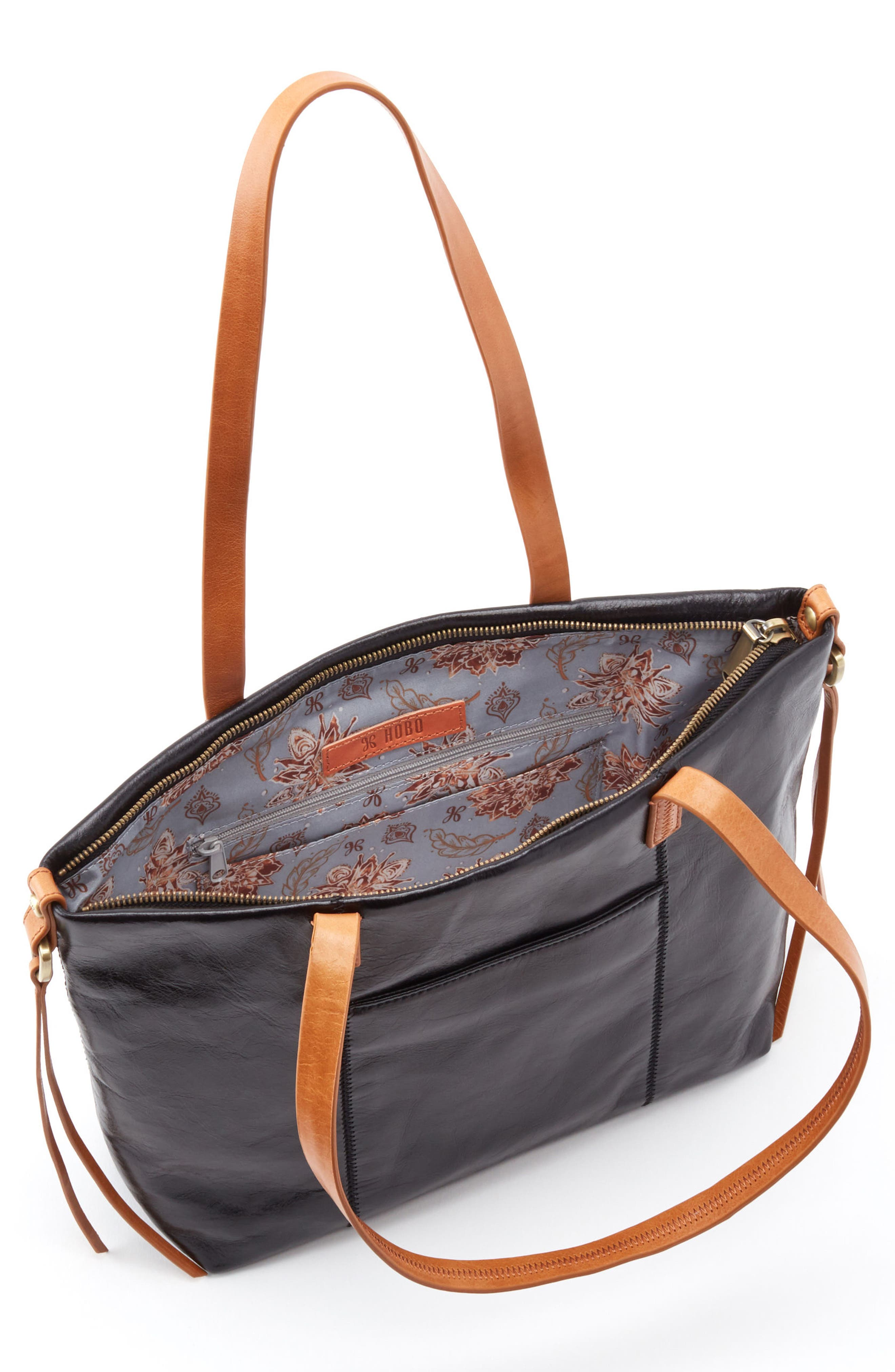Cecily Leather Tote,                             Alternate thumbnail 3, color,                             Black