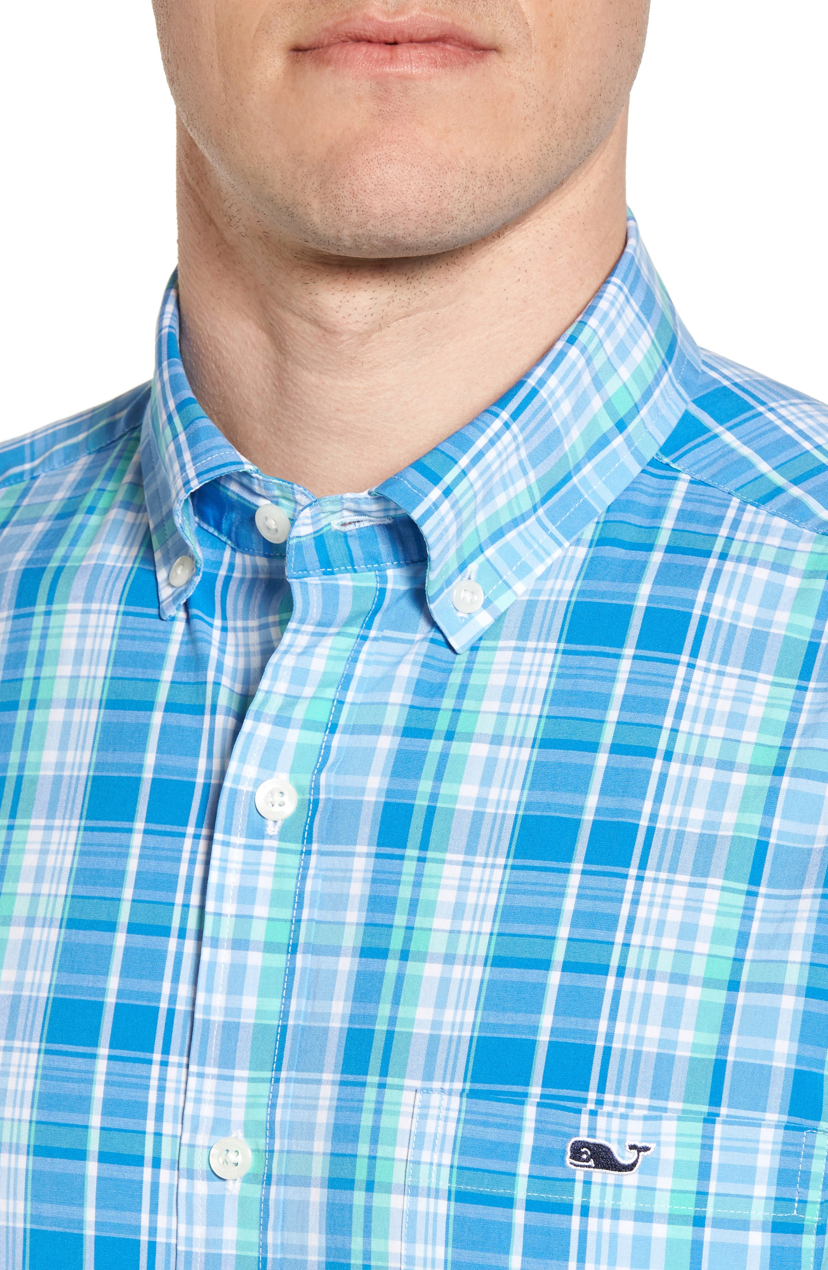 Bougainvillea Classic Fit Plaid Sport Shirt,                             Alternate thumbnail 4, color,                             Antigua Green