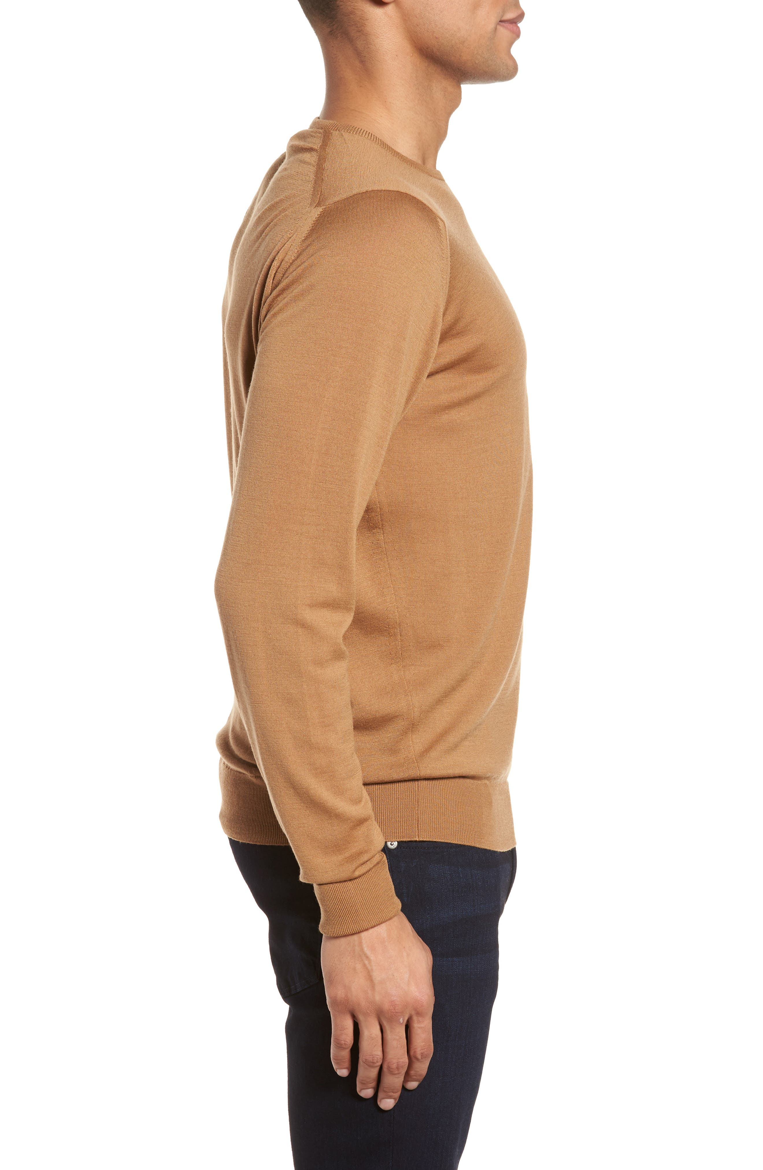 'Marcus' Easy Fit Crewneck Wool Sweater,                             Alternate thumbnail 3, color,                             Camel