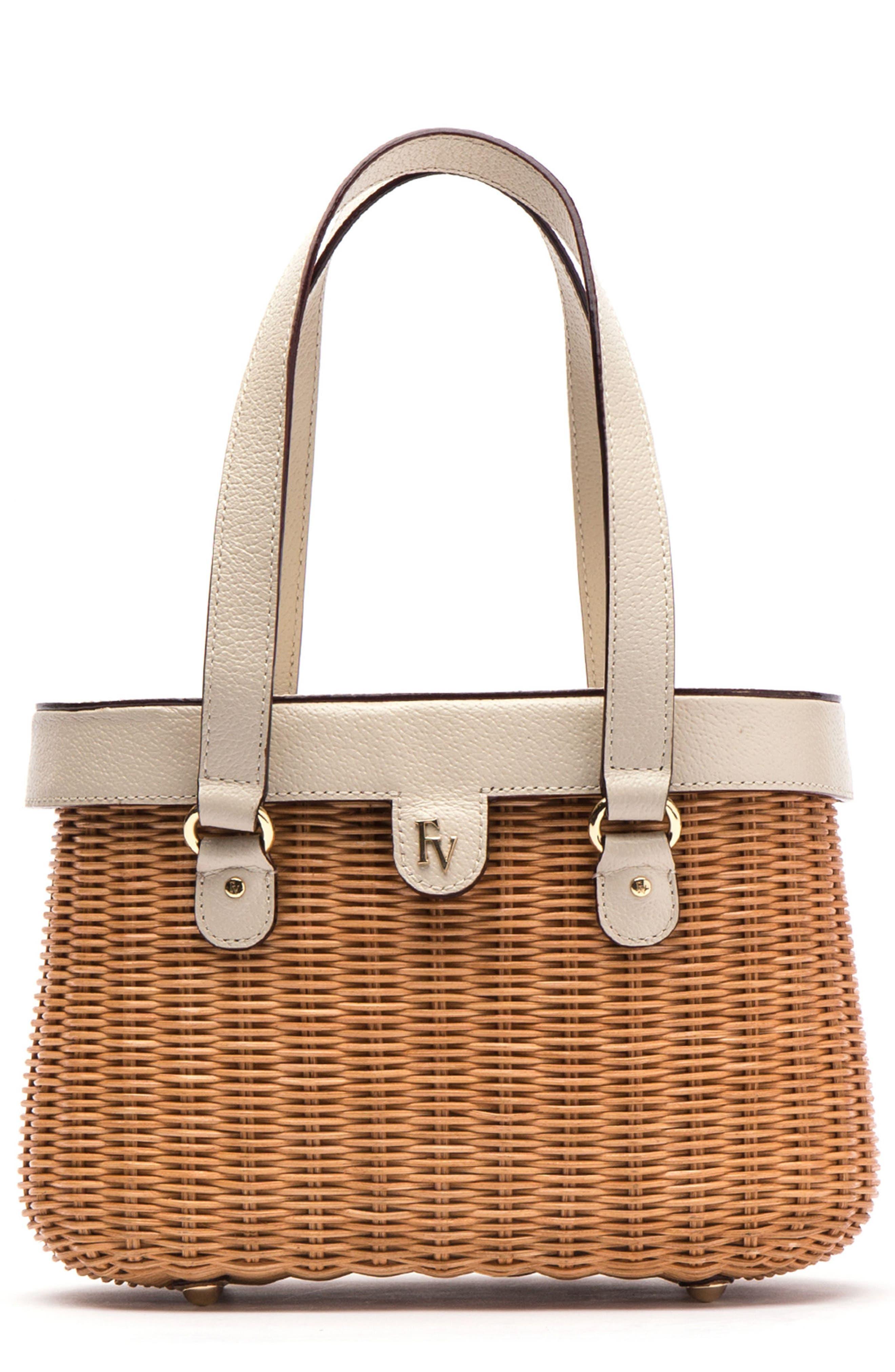 Wicker Basket Shoulder Bag,                             Main thumbnail 1, color,                             Natural/ Oyster