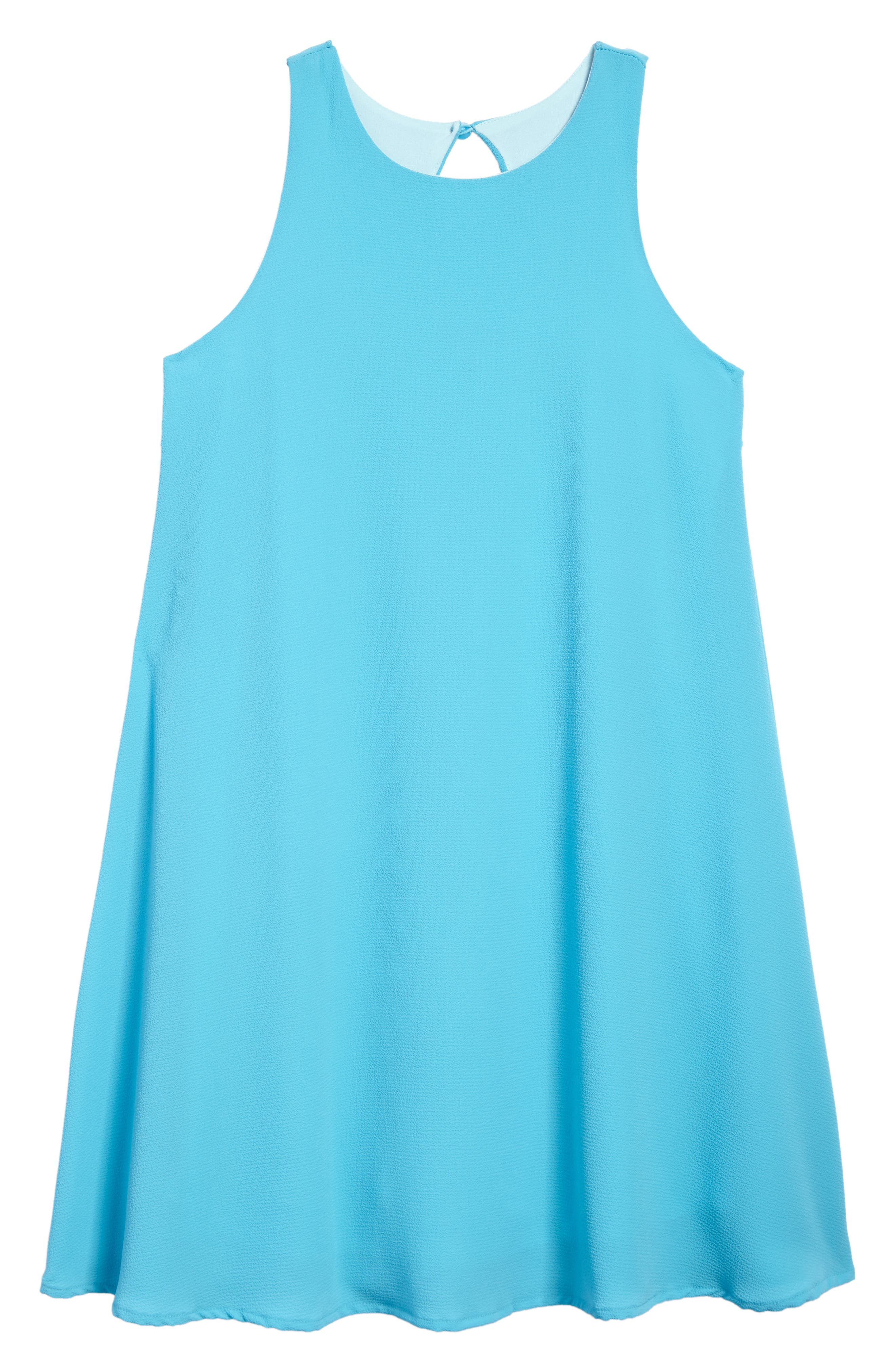 Ruffle Trapeze Dress,                         Main,                         color, Azule