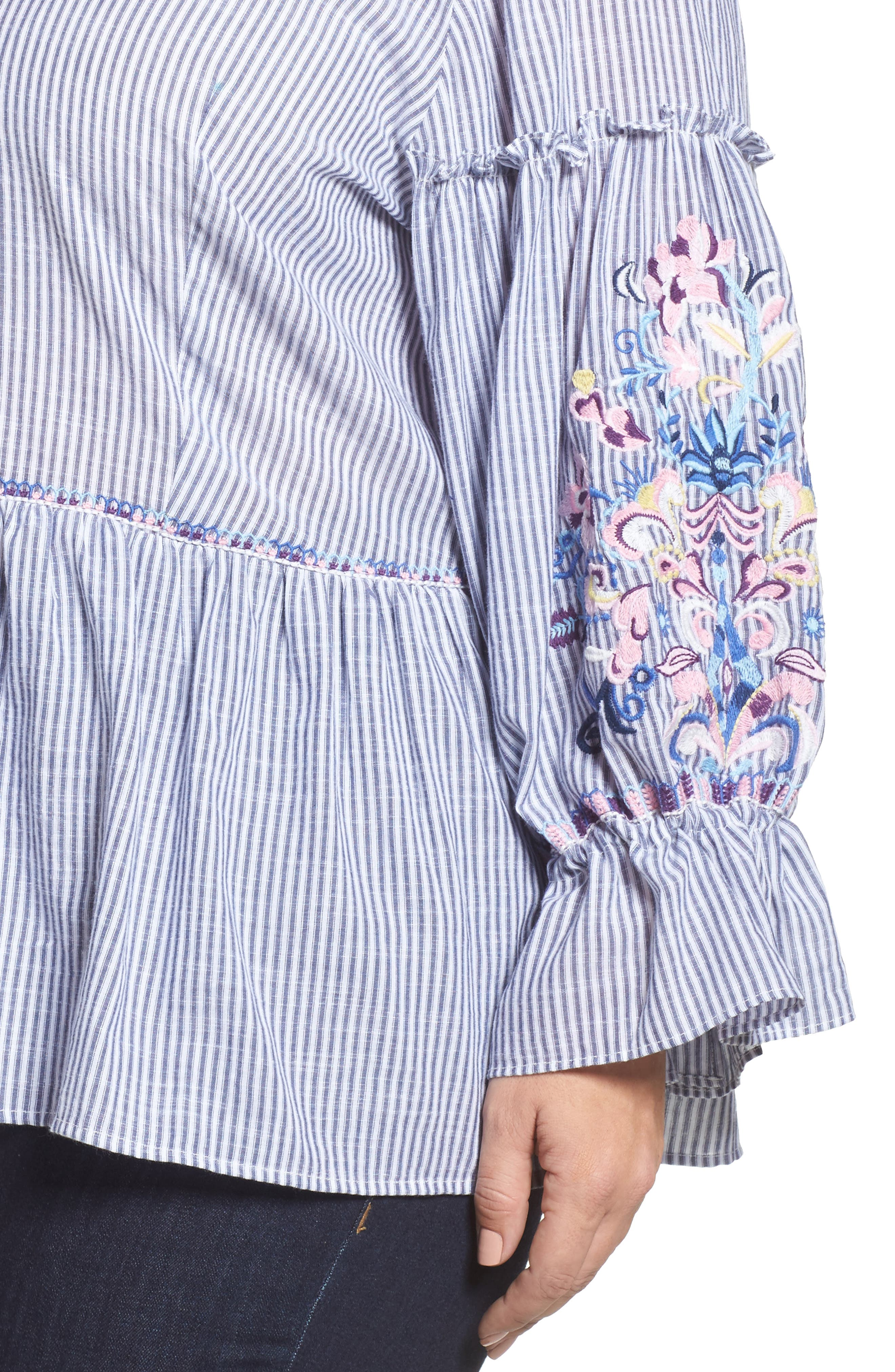 Embroidered Blouse,                             Alternate thumbnail 4, color,                             Blue-White