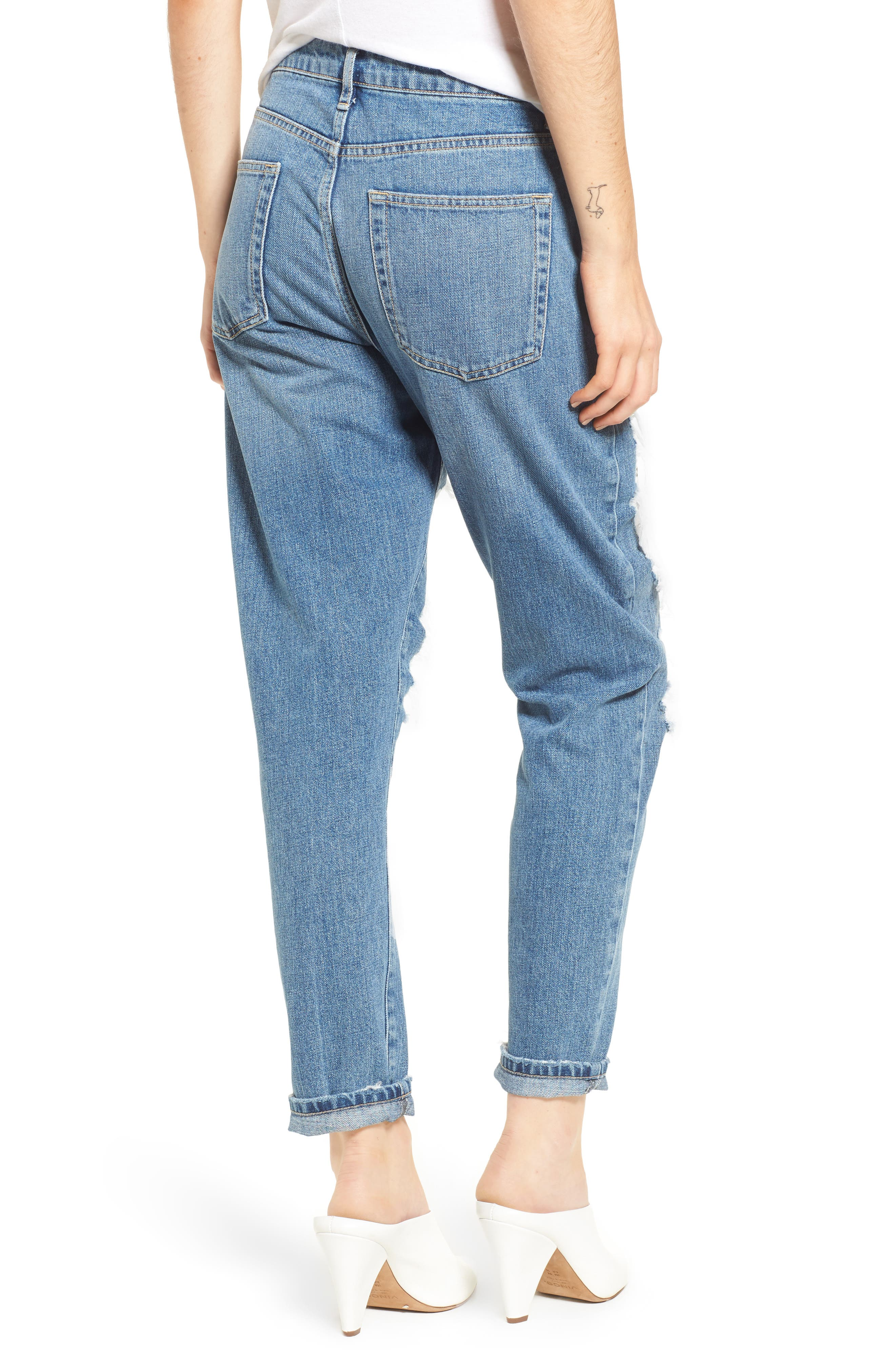 Chain Mail Boyfriend Jeans,                             Alternate thumbnail 3, color,                             Light Denim Multi