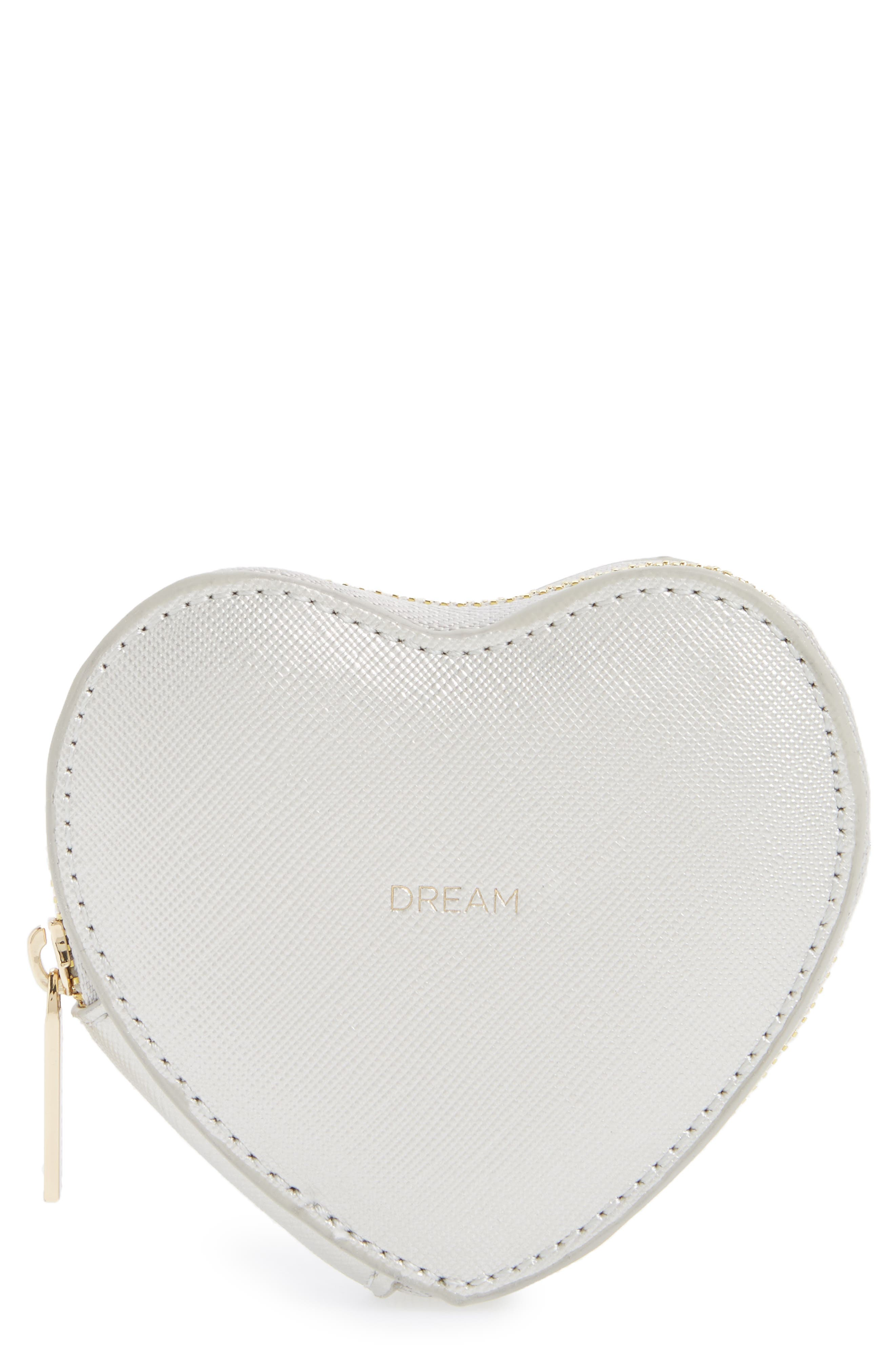 Heart Dream Faux Leather Coin Purse,                             Main thumbnail 1, color,                             Silver