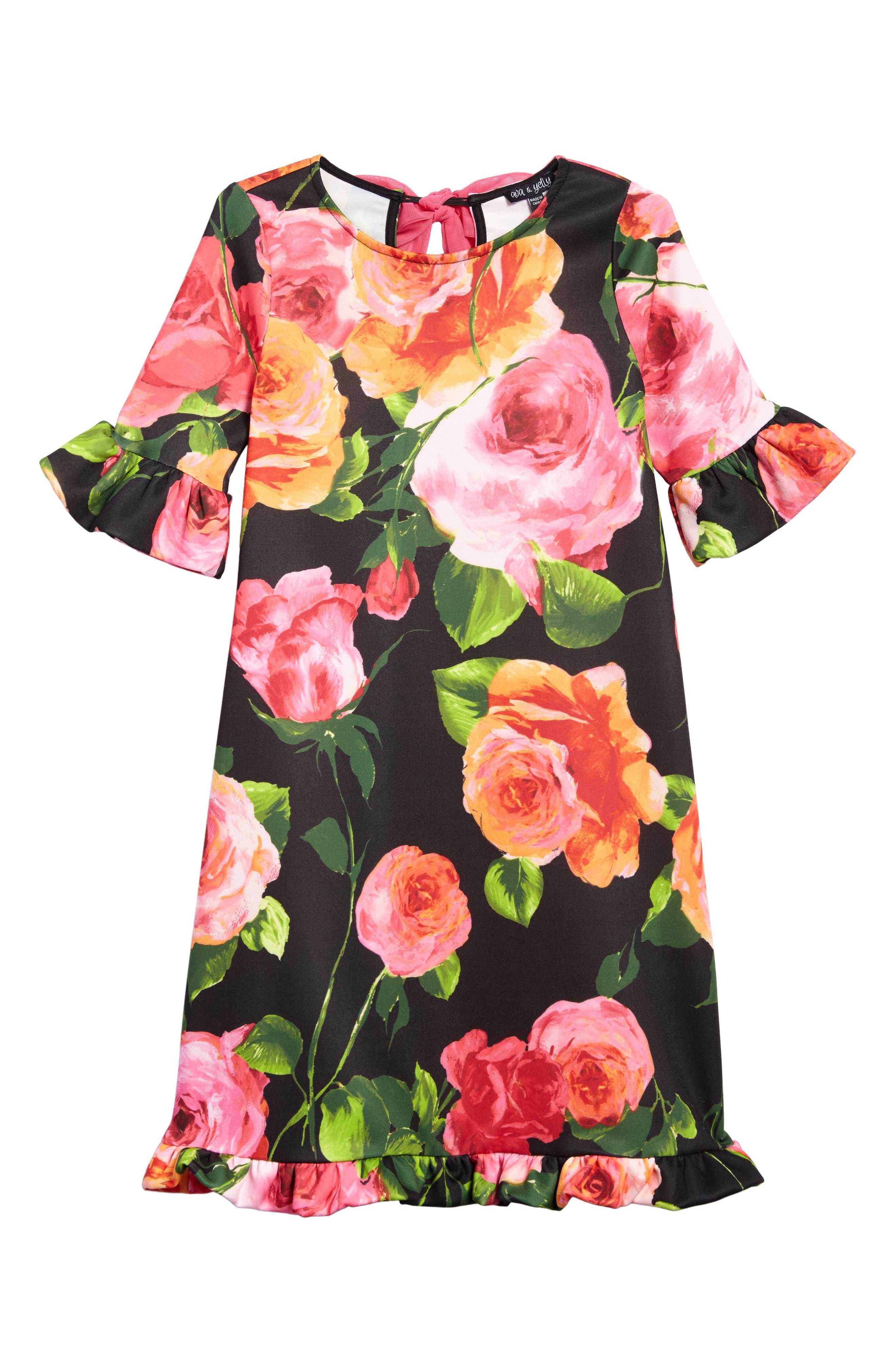 Floral Print Shift Dress,                         Main,                         color, Black Rose