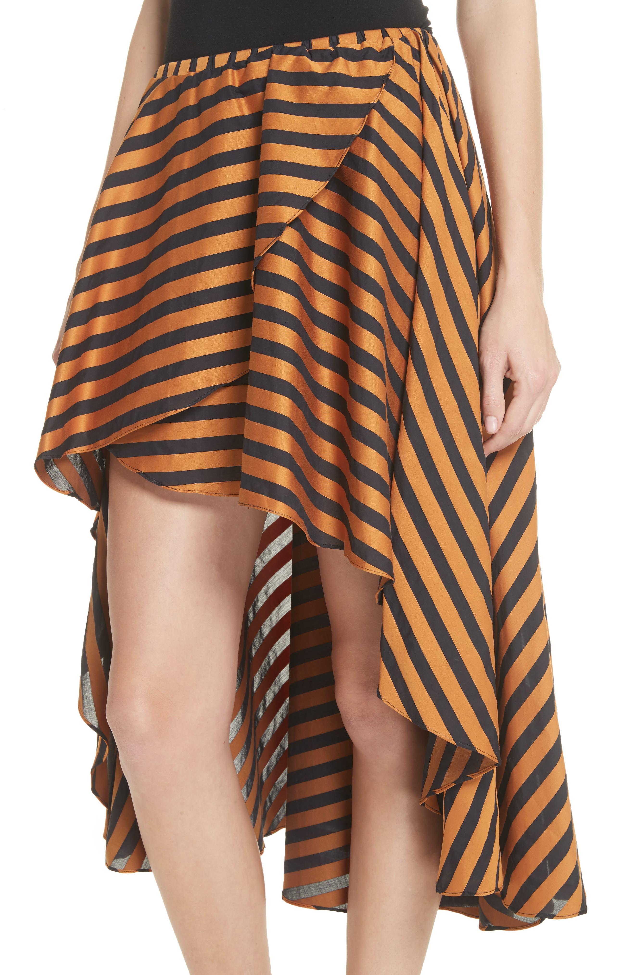 Adelle Ruffle High/Low Skirt,                             Alternate thumbnail 4, color,                             Bronze Black