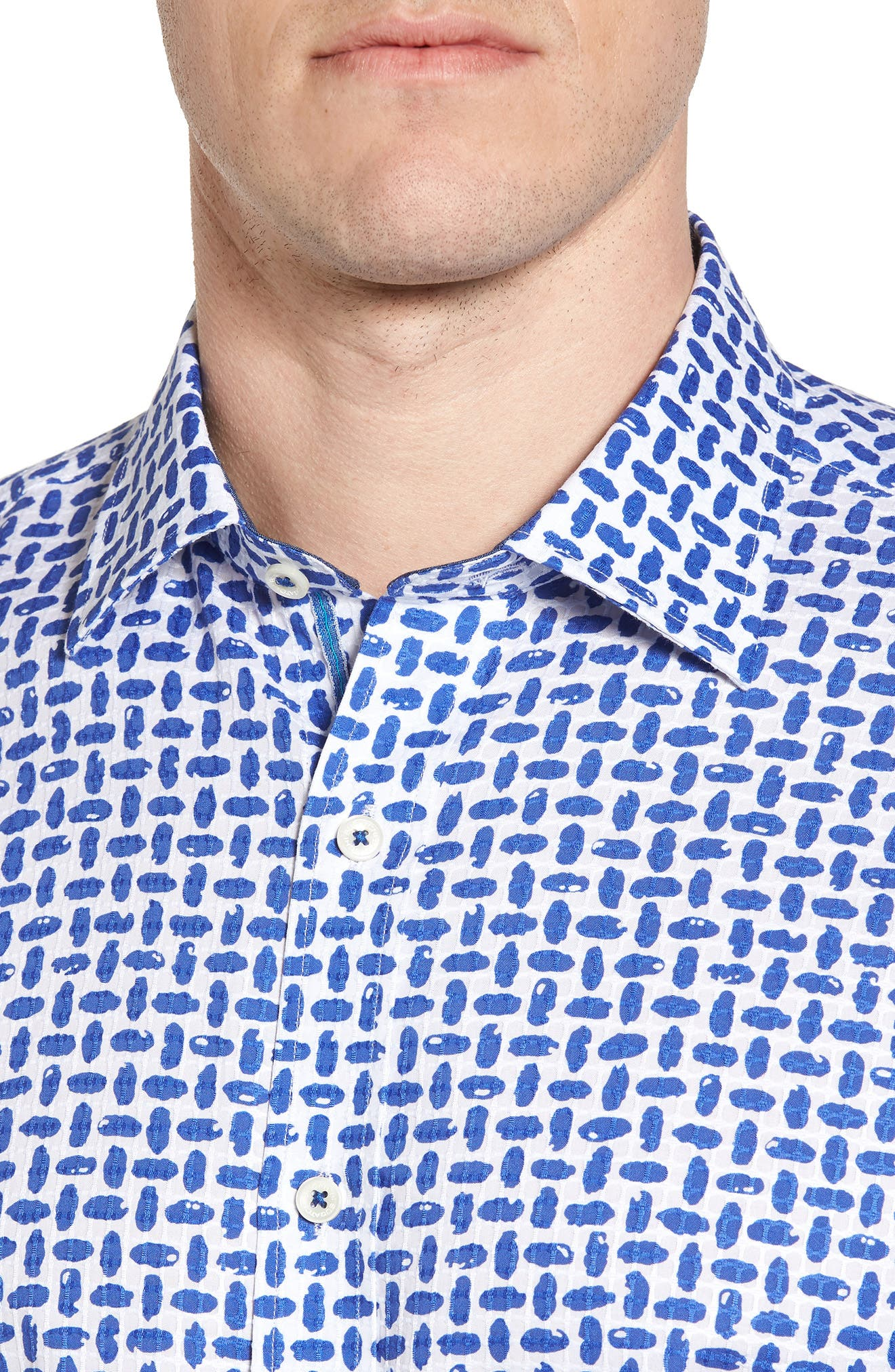 Classic Fit Woven Sport Shirt,                             Alternate thumbnail 4, color,                             Royal