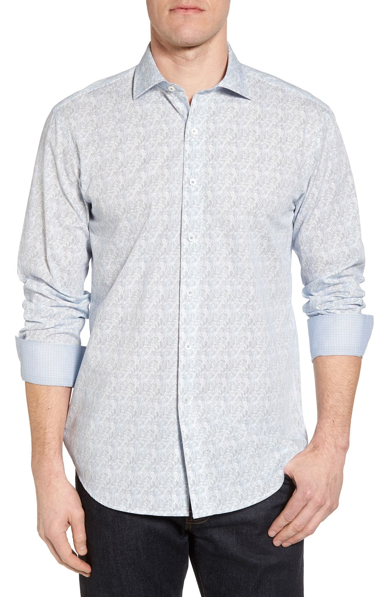 Shaped Fit Impression Print Sport Shirt,                         Main,                         color, Air Blue