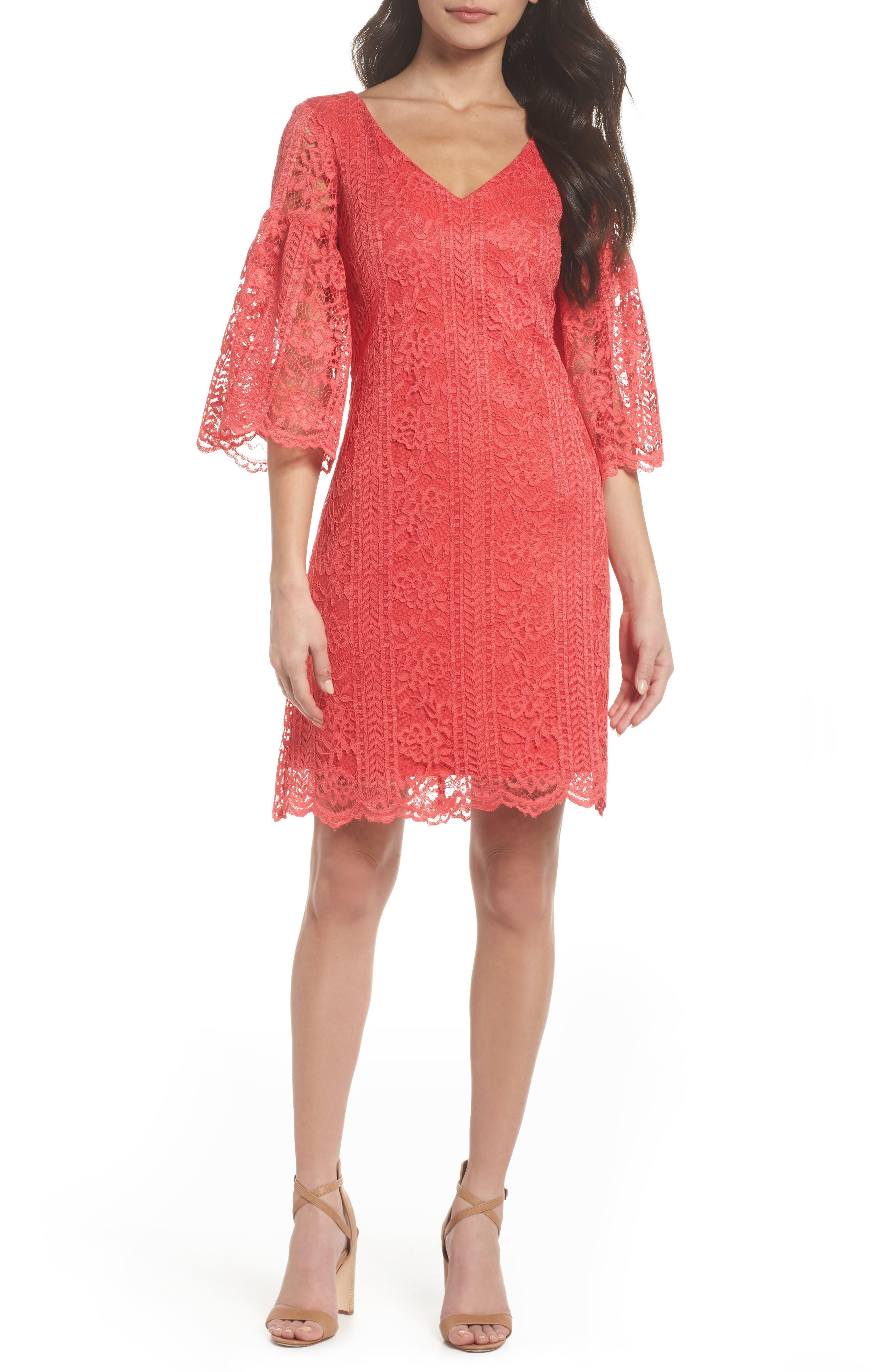 Gabby Skye Lace Bell Sleeve Dress