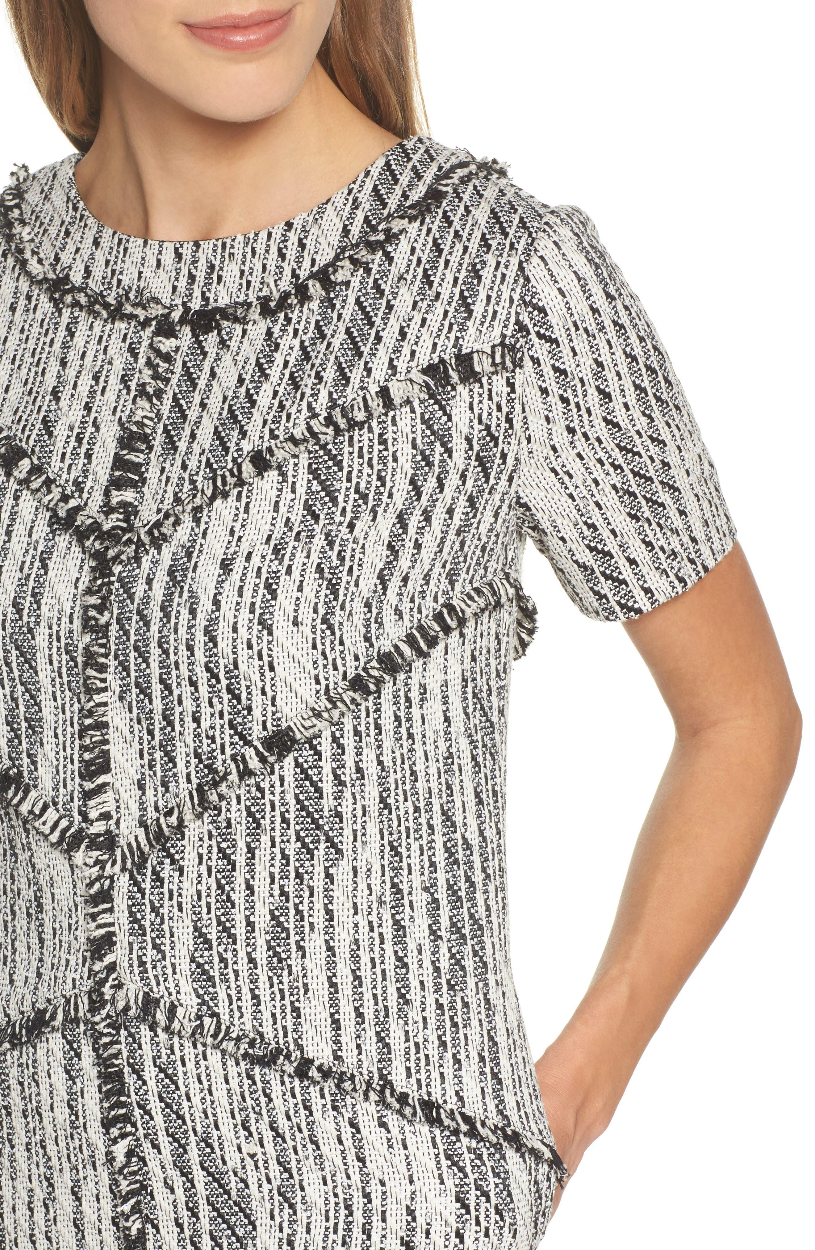 Dolce Vita Tweed Shift Dress,                             Alternate thumbnail 5, color,                             Black/ Ivory Tweed